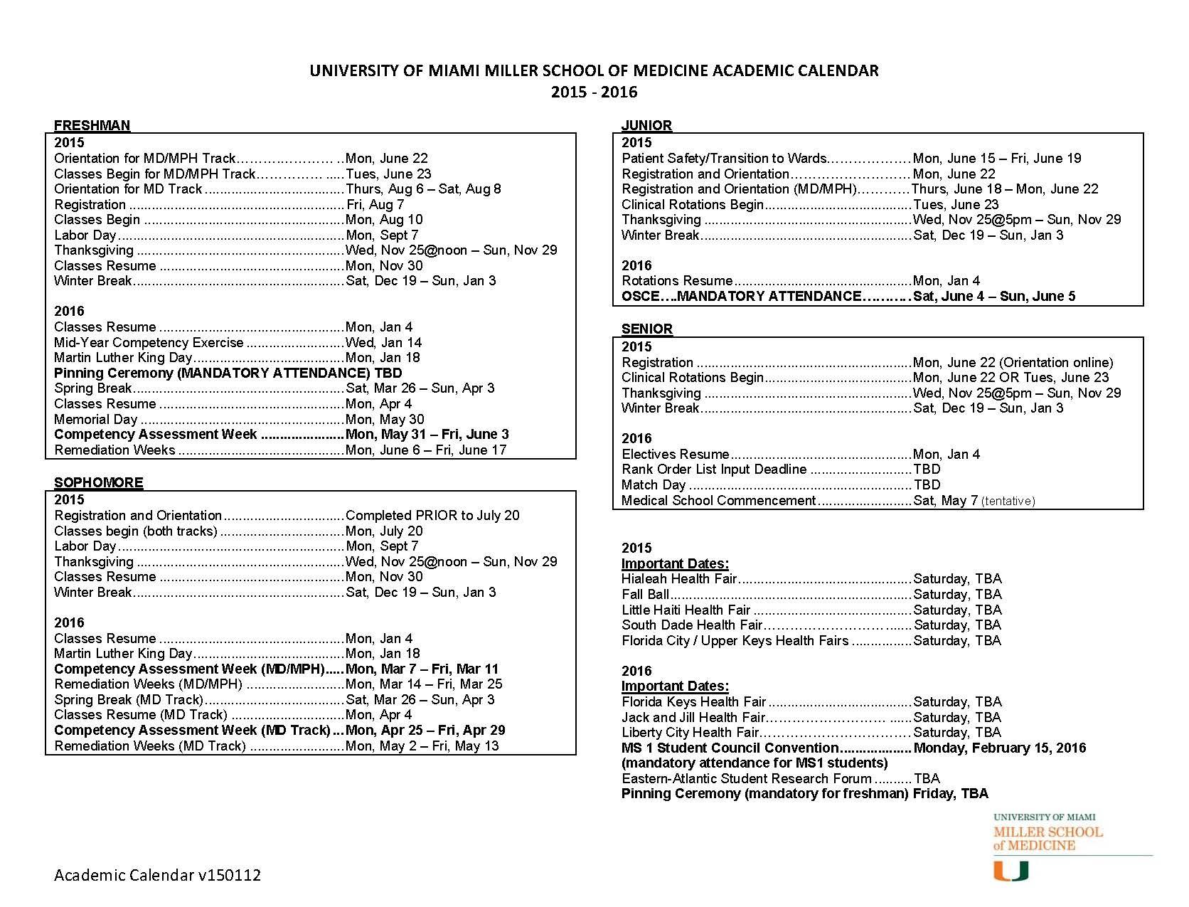 Umiami Academic Calendar