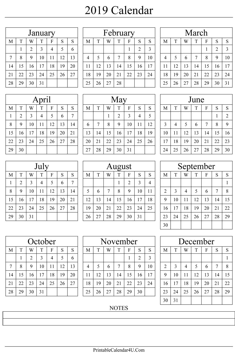 Printable Yearly Calendars 2019