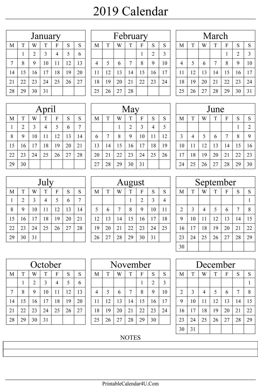 2019 Calendar Printable Yearly