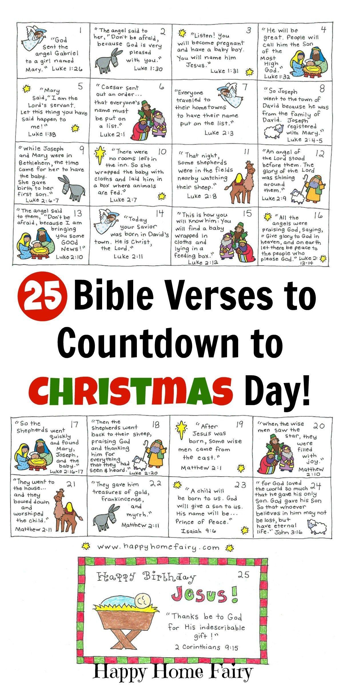 Advent Calendar Bible Verses Printable