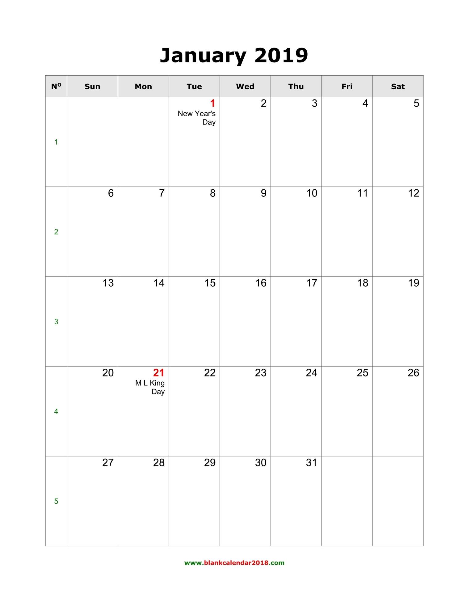 Blank Printable Monthly Calendar 2019