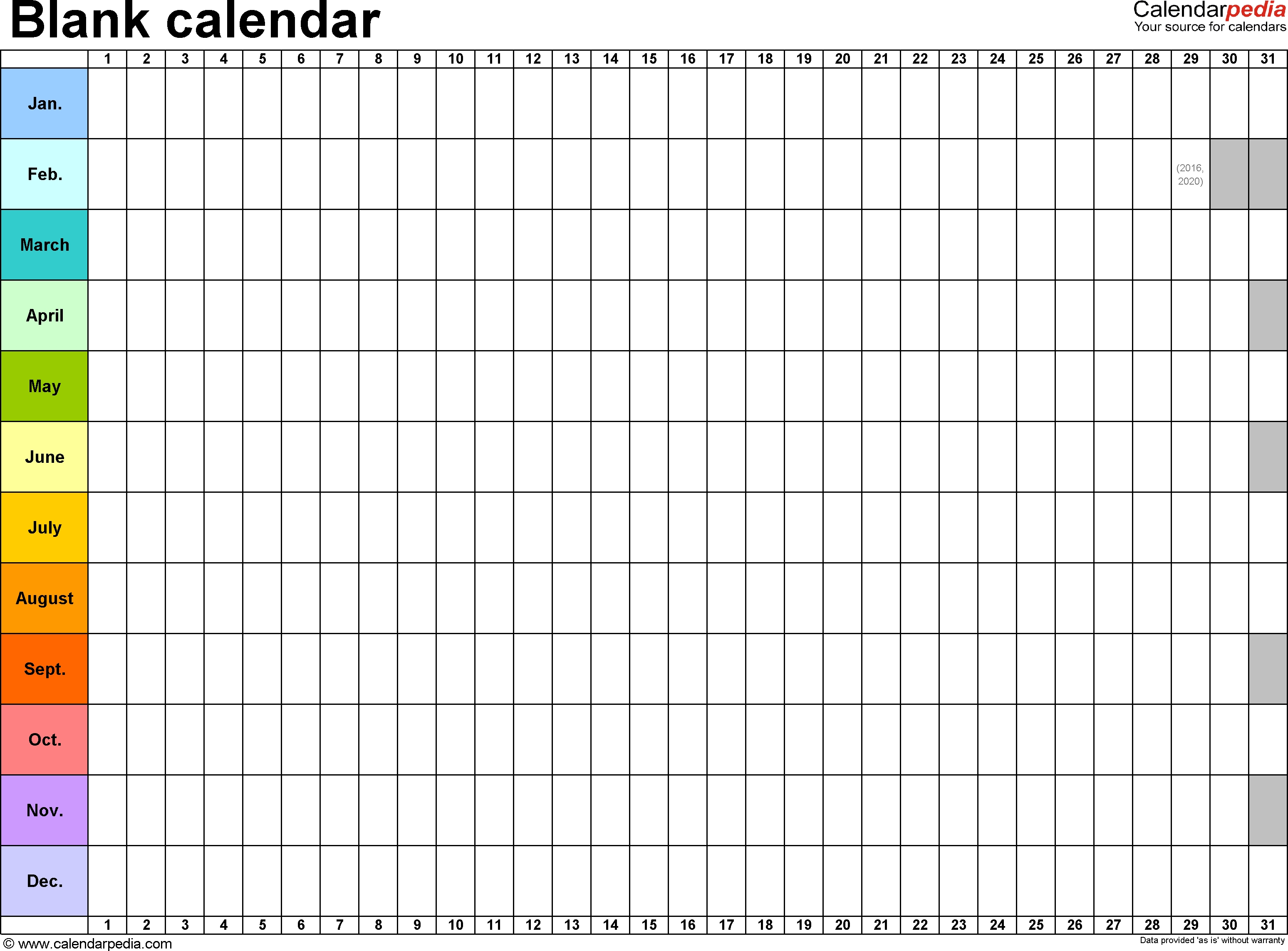 Blank Monthly Calendar Template Word