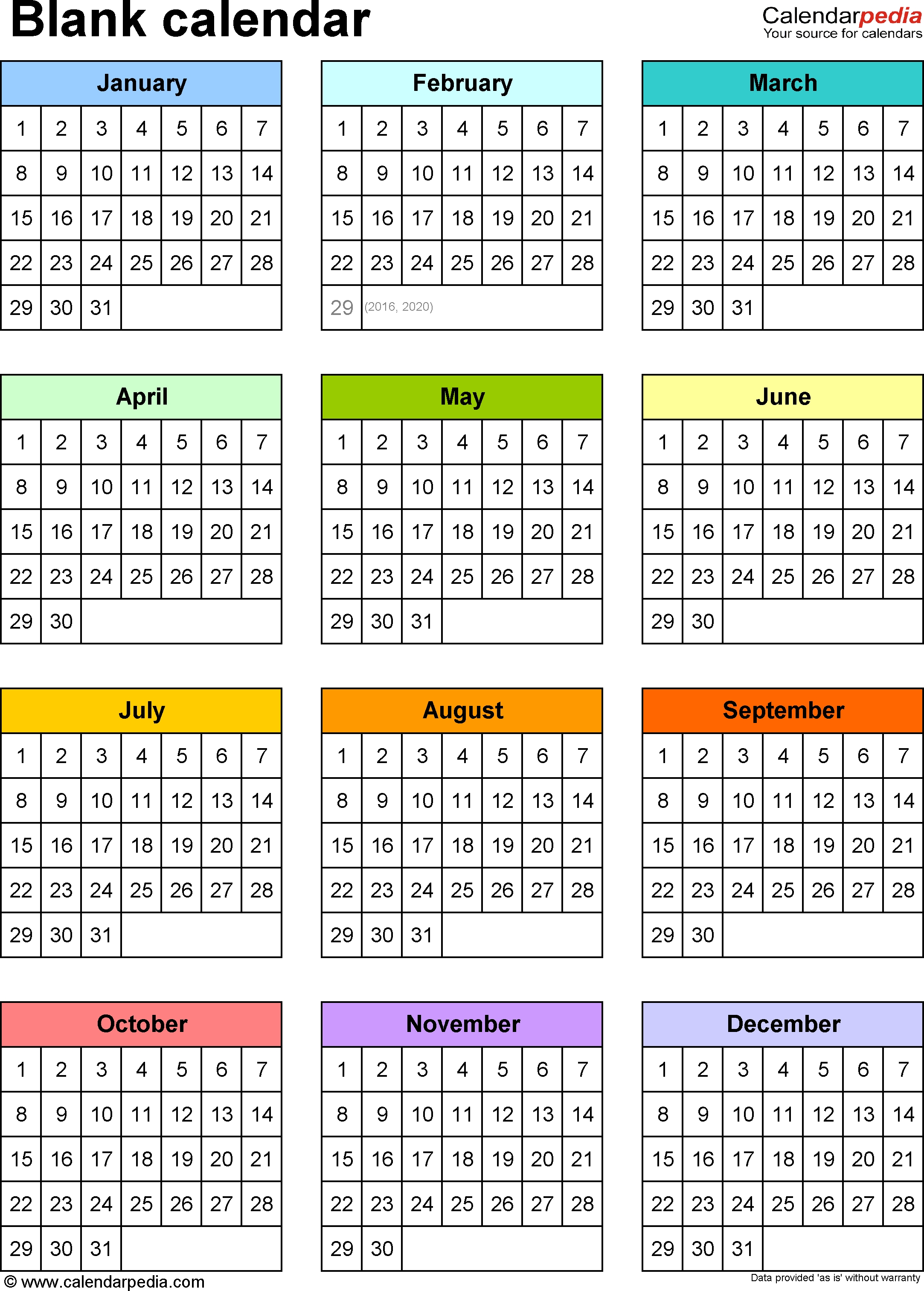 Free Printable Year At A Glance Calendar