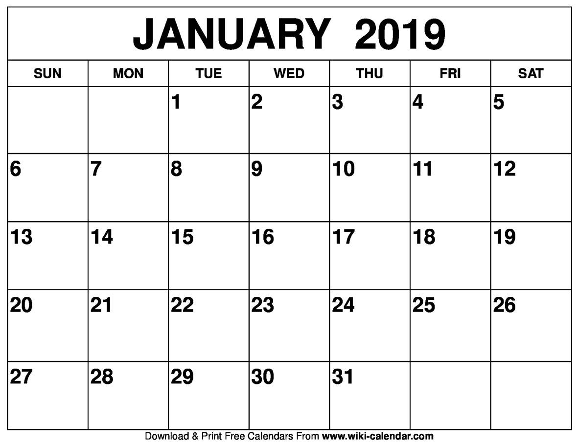 Printable 2019 Calendar January