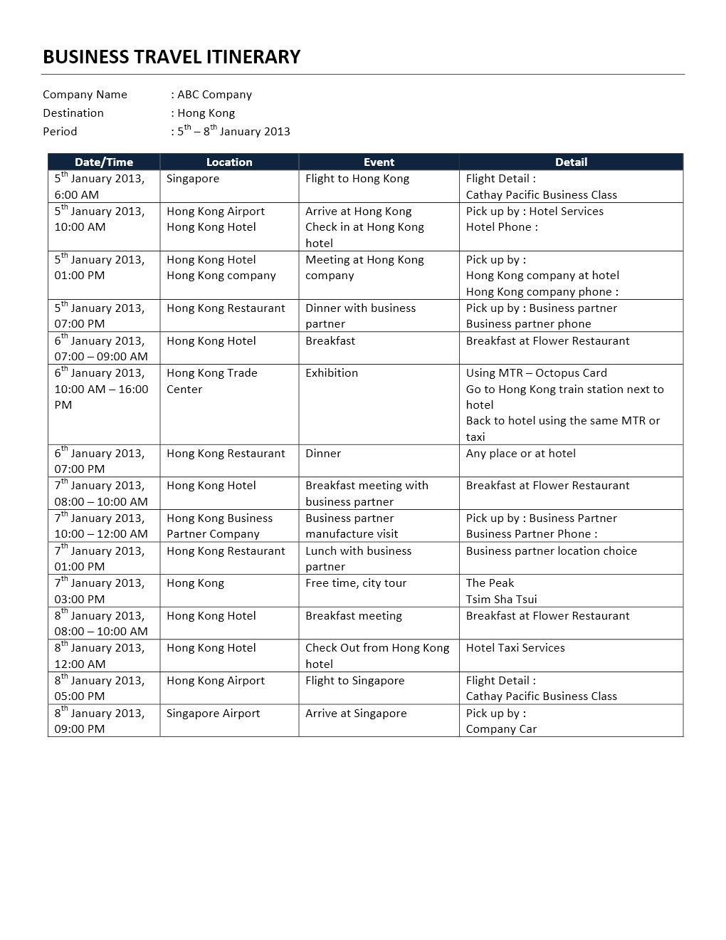 Microsoft Travel Itinerary Template