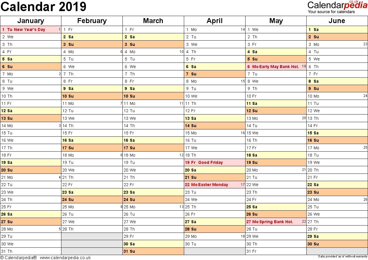 planner calendar 2019 printable