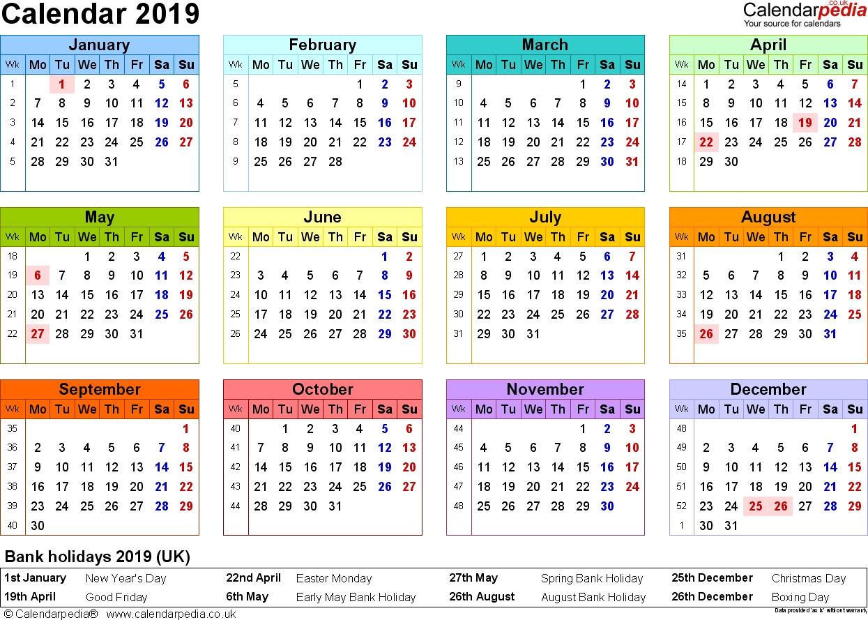 Calendar 2019 Uk Printable
