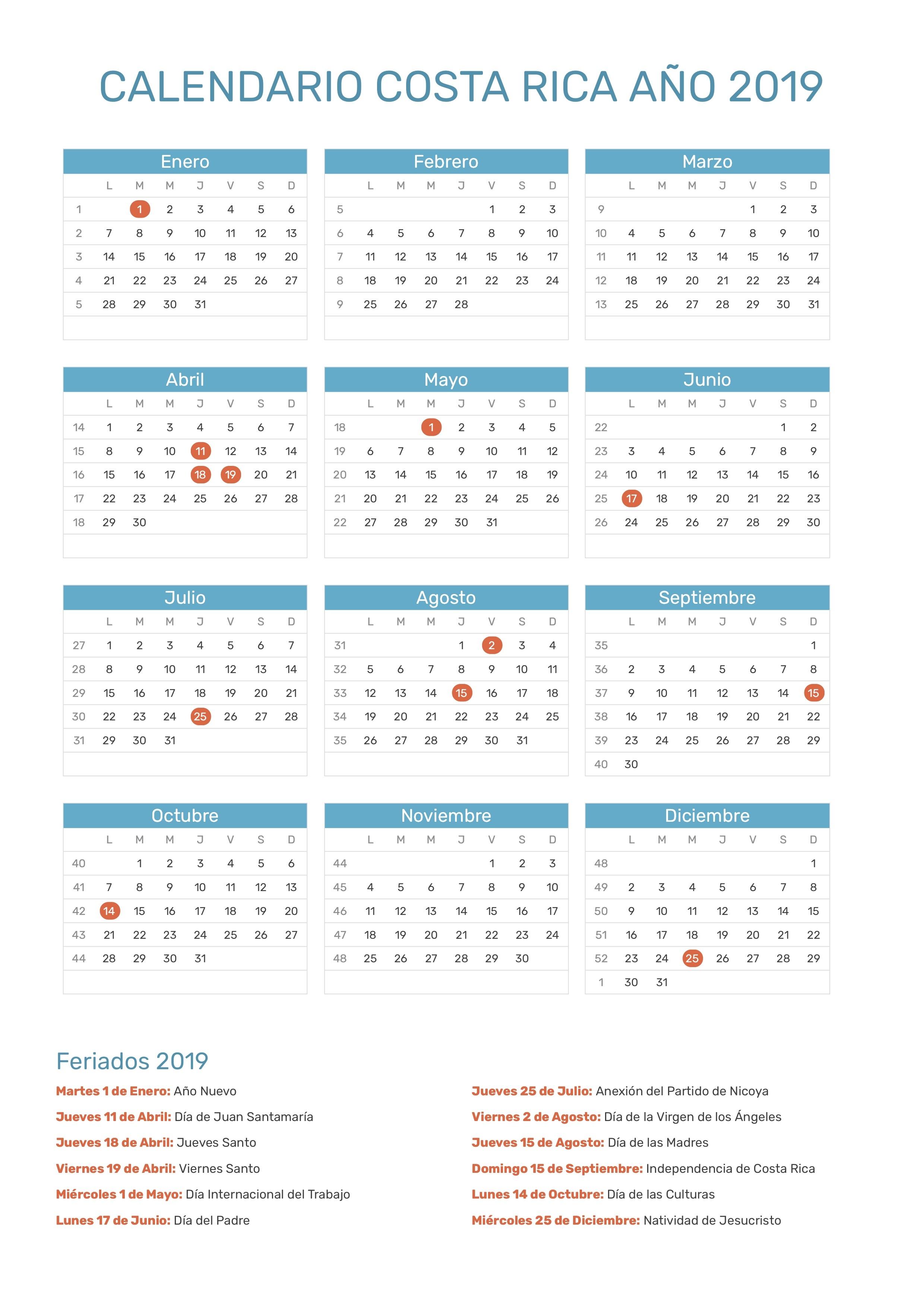 Calendario 2019 Costa Rica