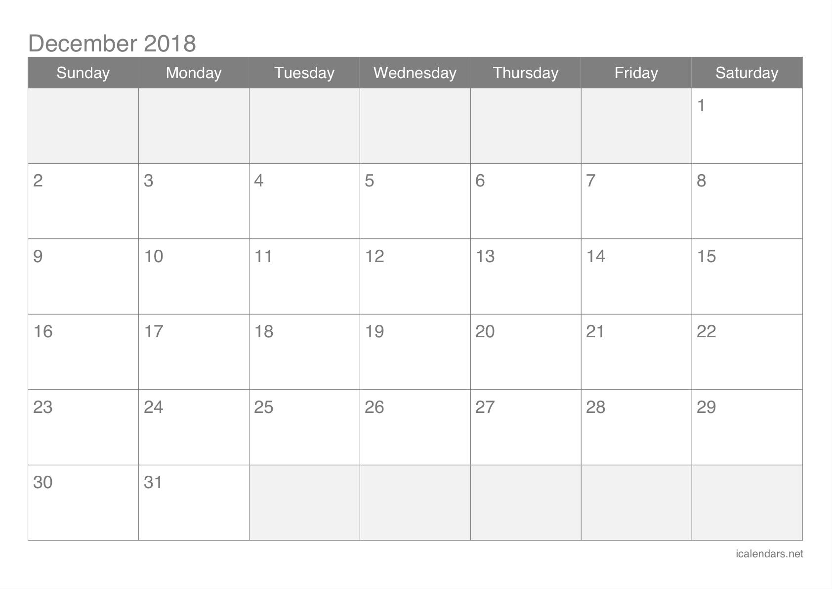 Printable Calendar For December