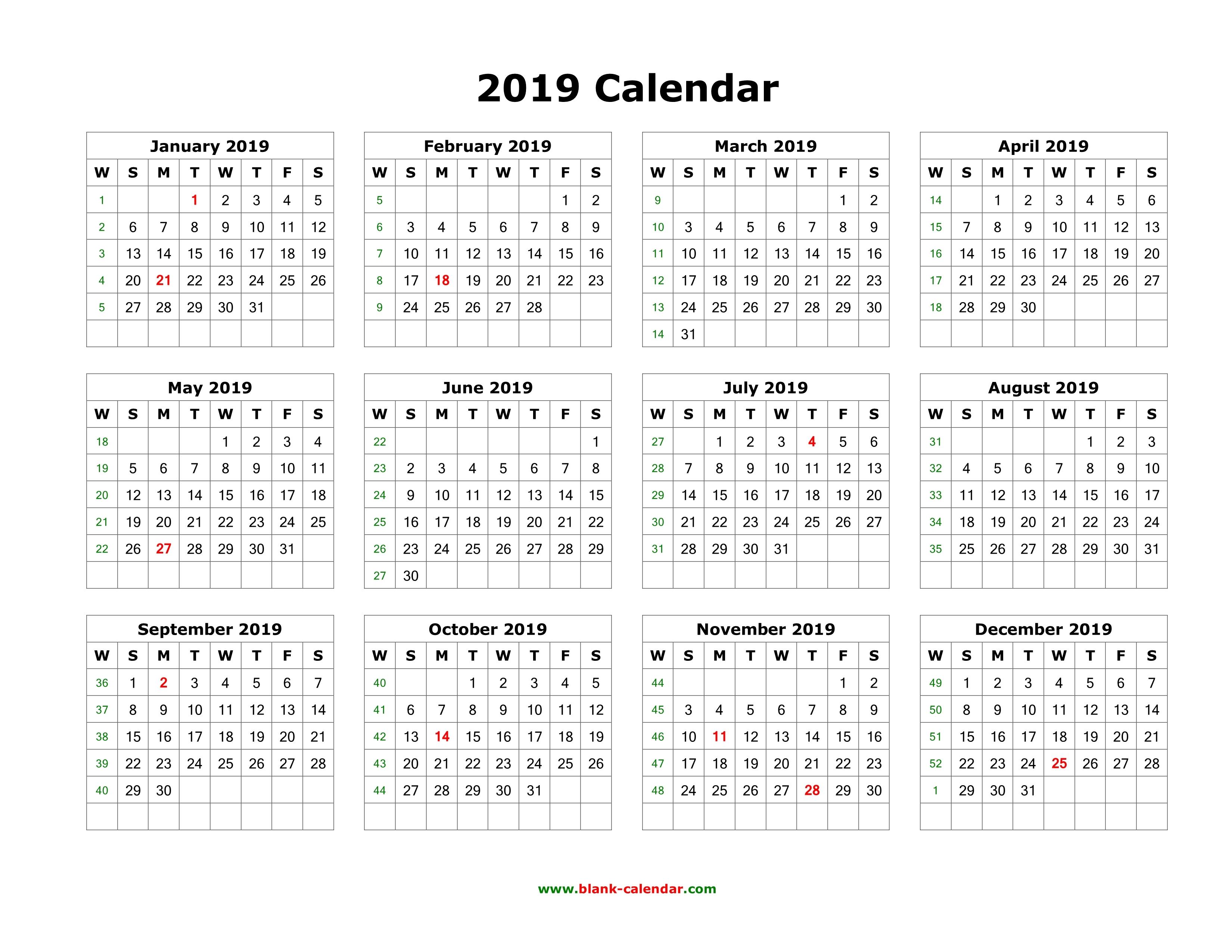 2019 Calendar Printable One Page Landscape