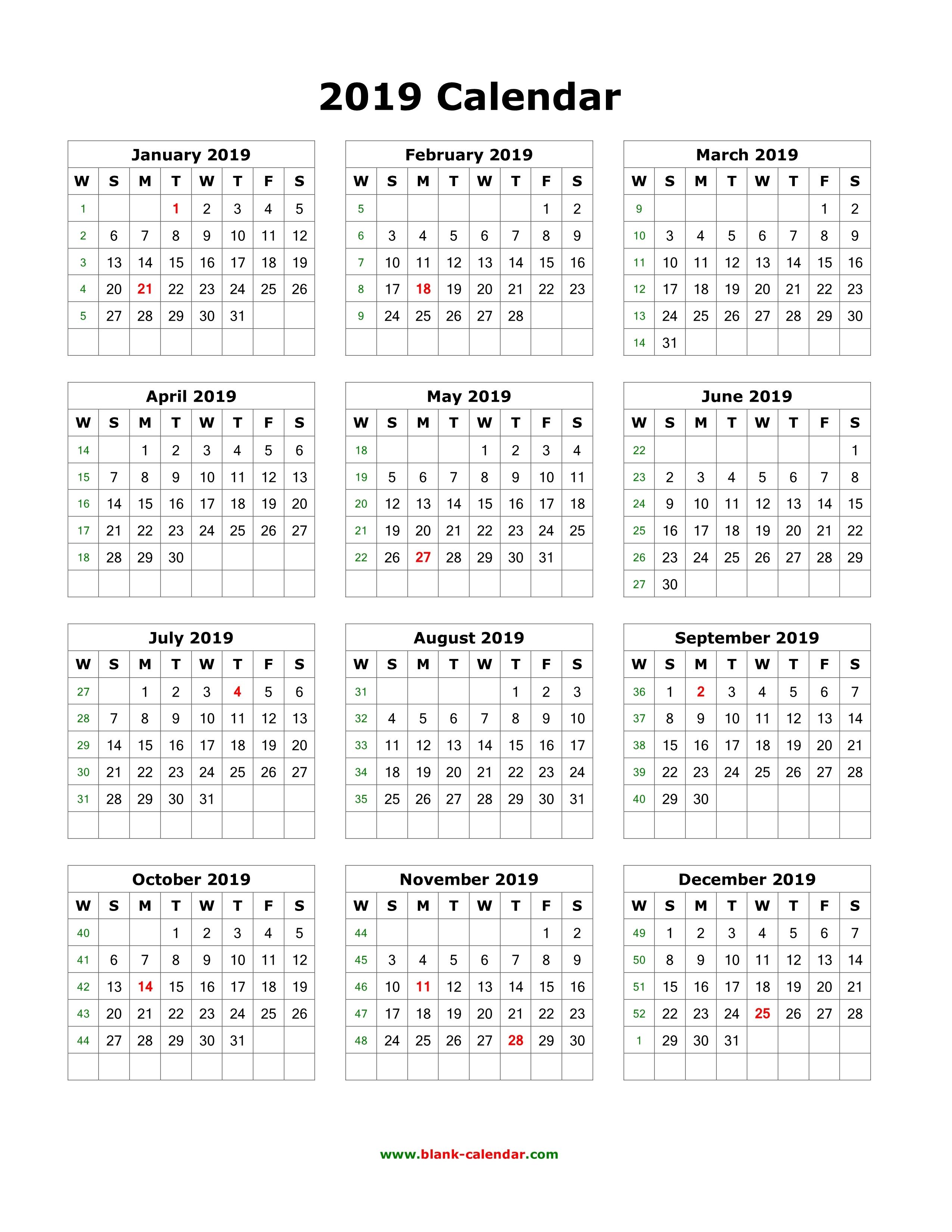 2019 12 month calendar printable