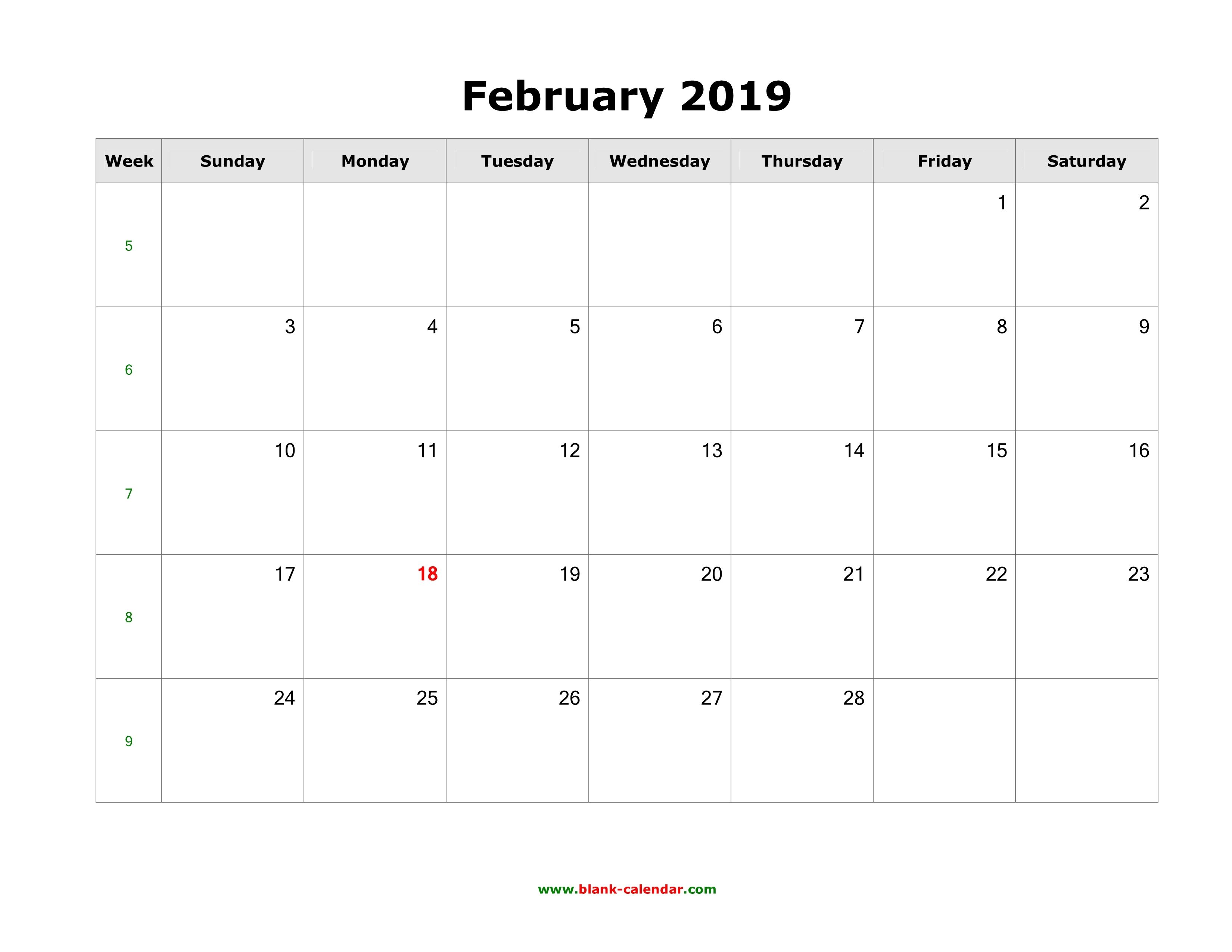 2019 Blank Calendars