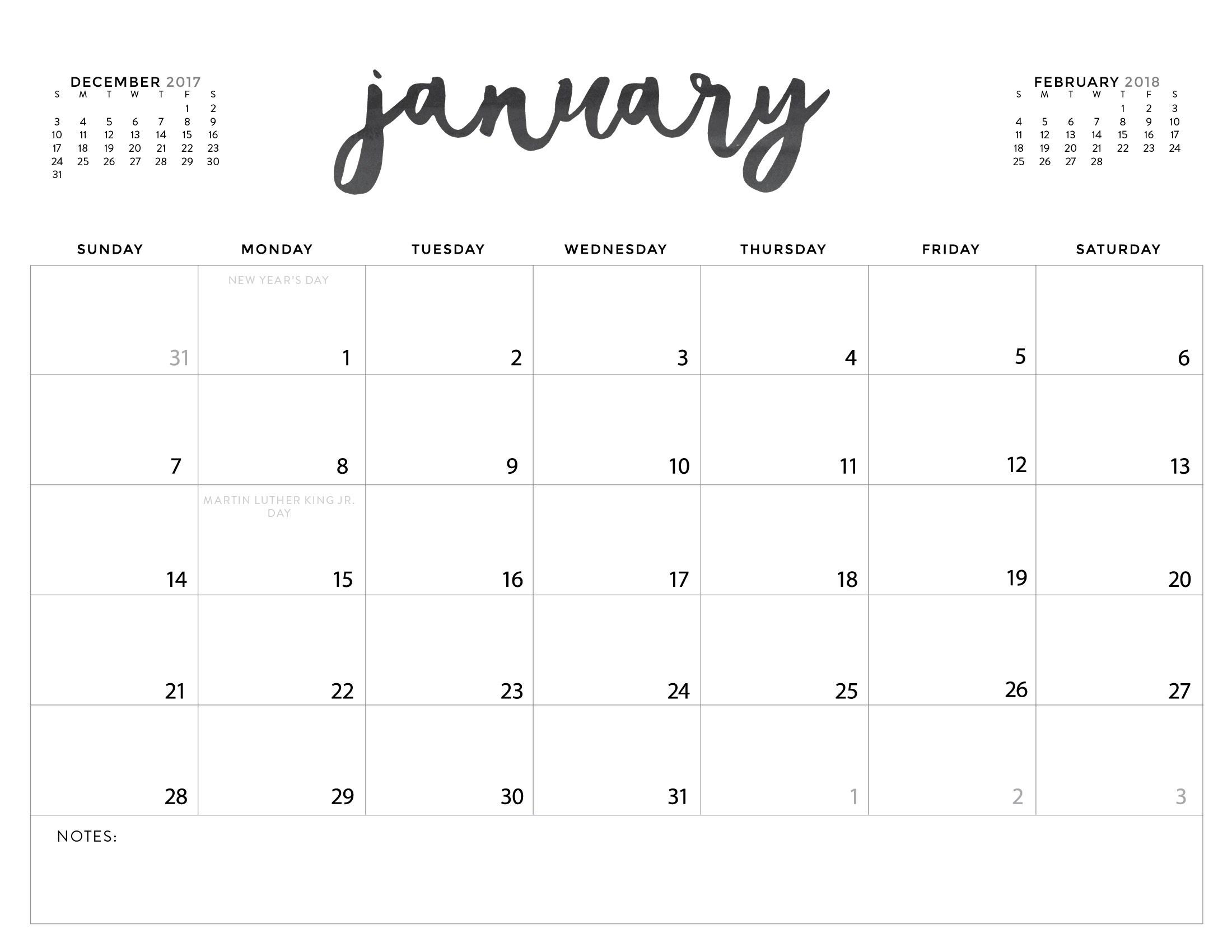 Cool Printable Calendars
