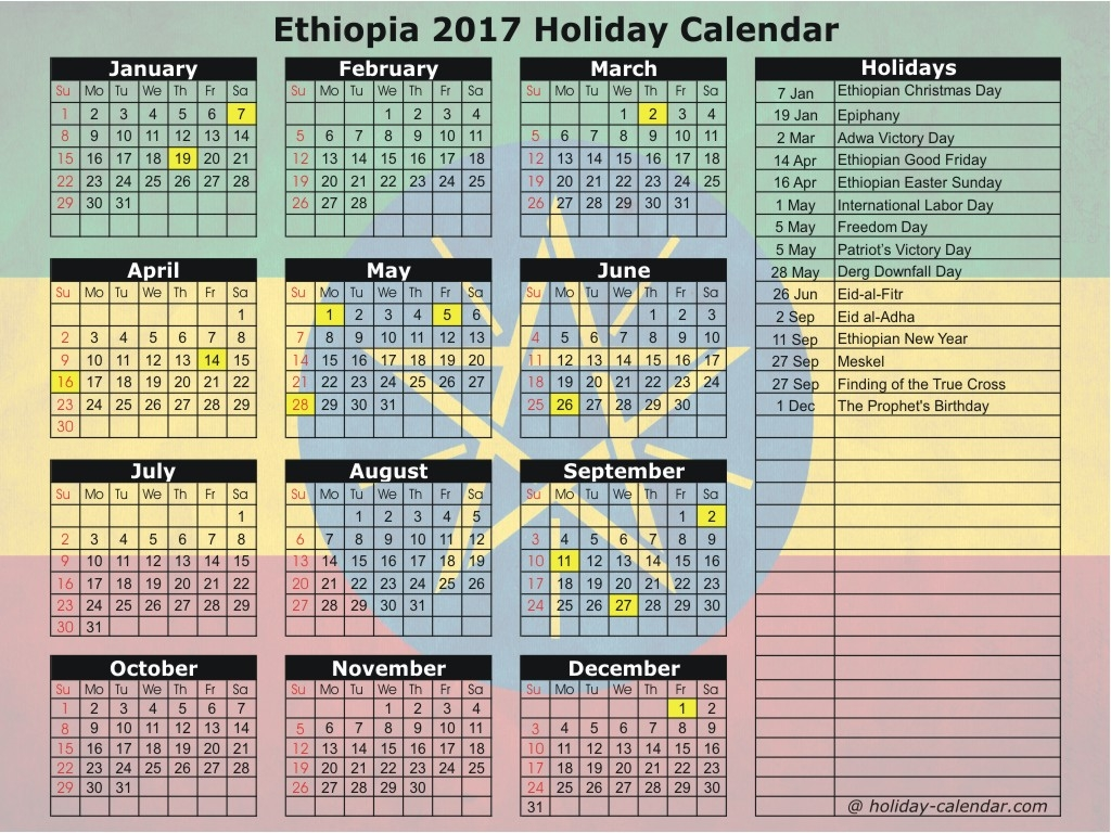 Ethiopian Calendar 13 Months