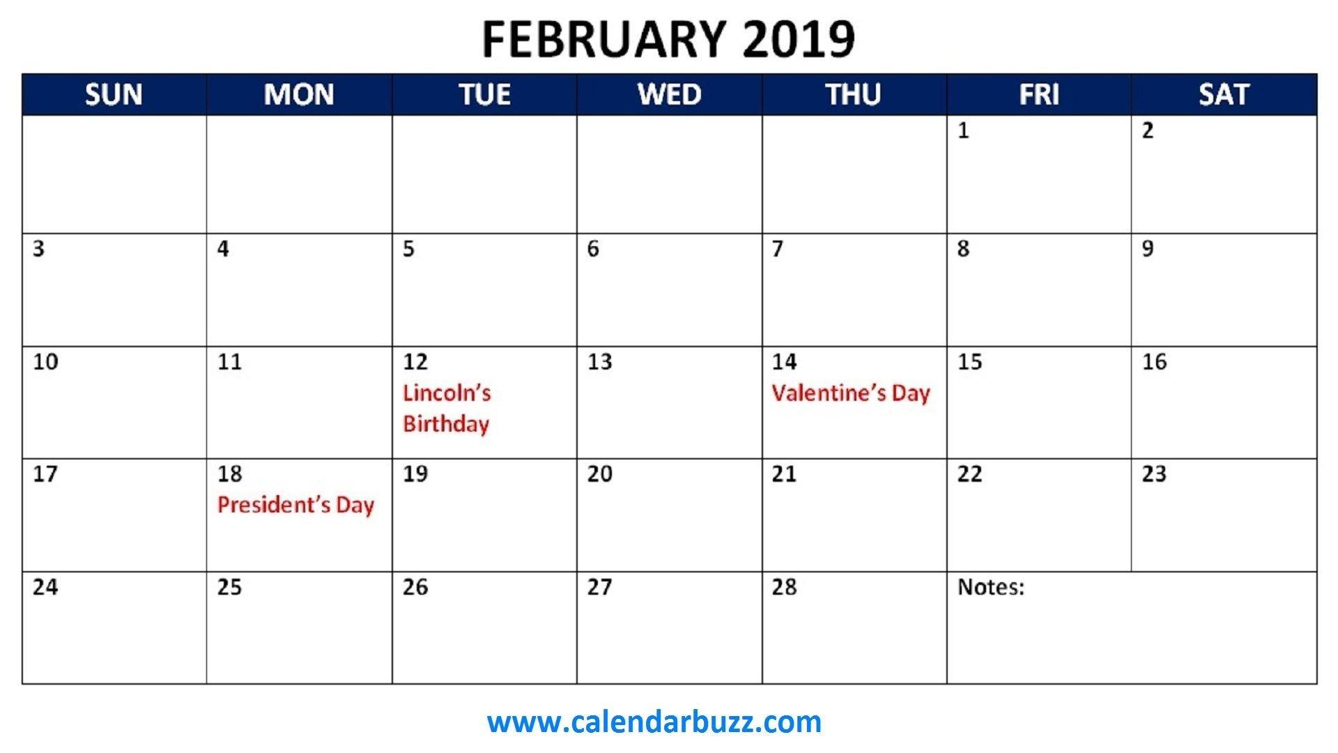 February Calendar 2019 Printable With Holidays