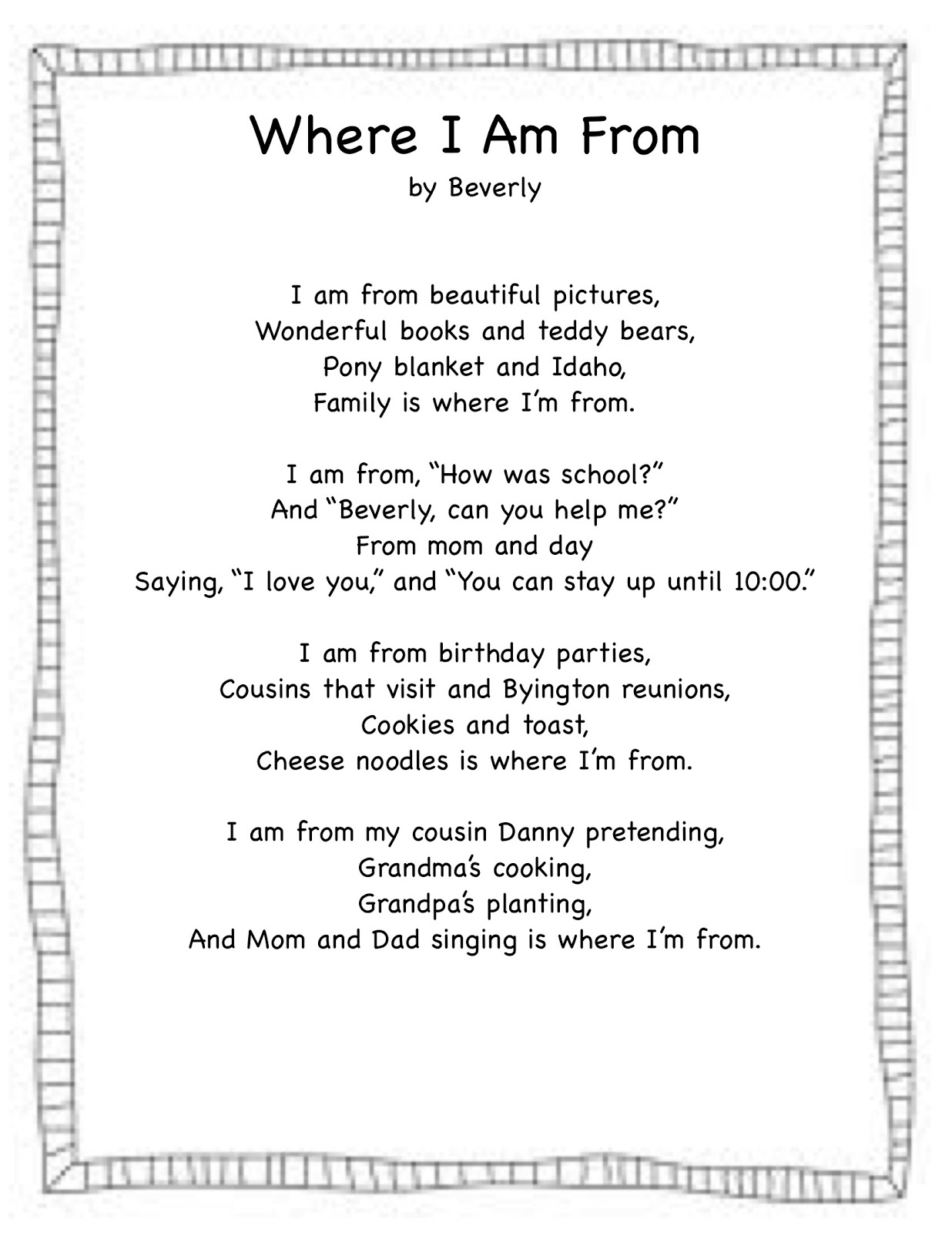 Where I Am From Poem Template
