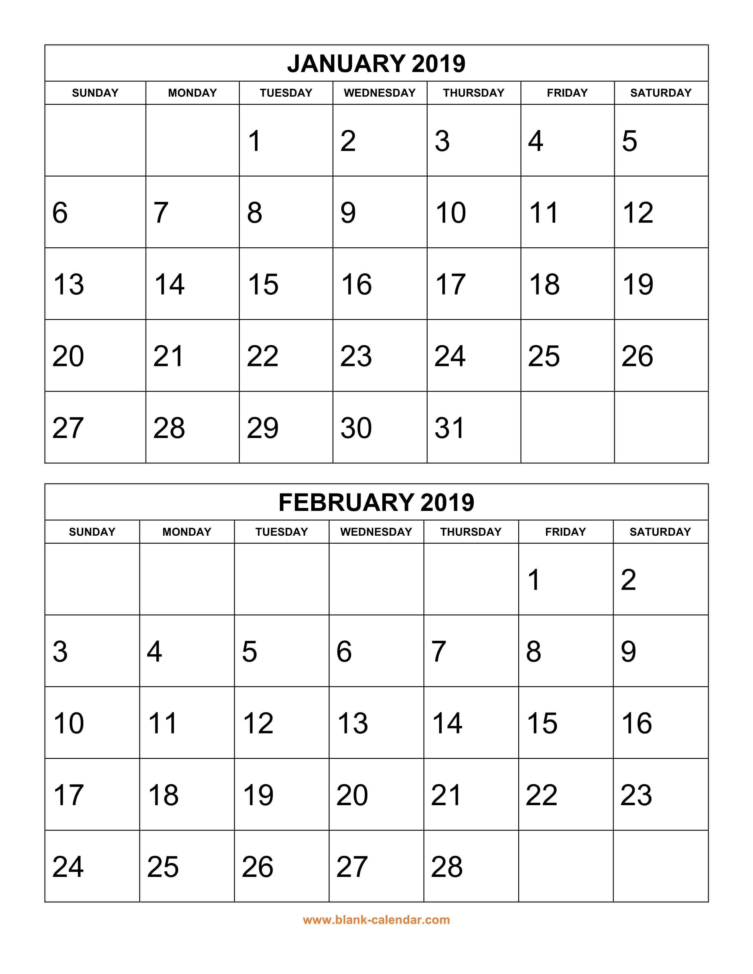 2019 Printable Calendars Free