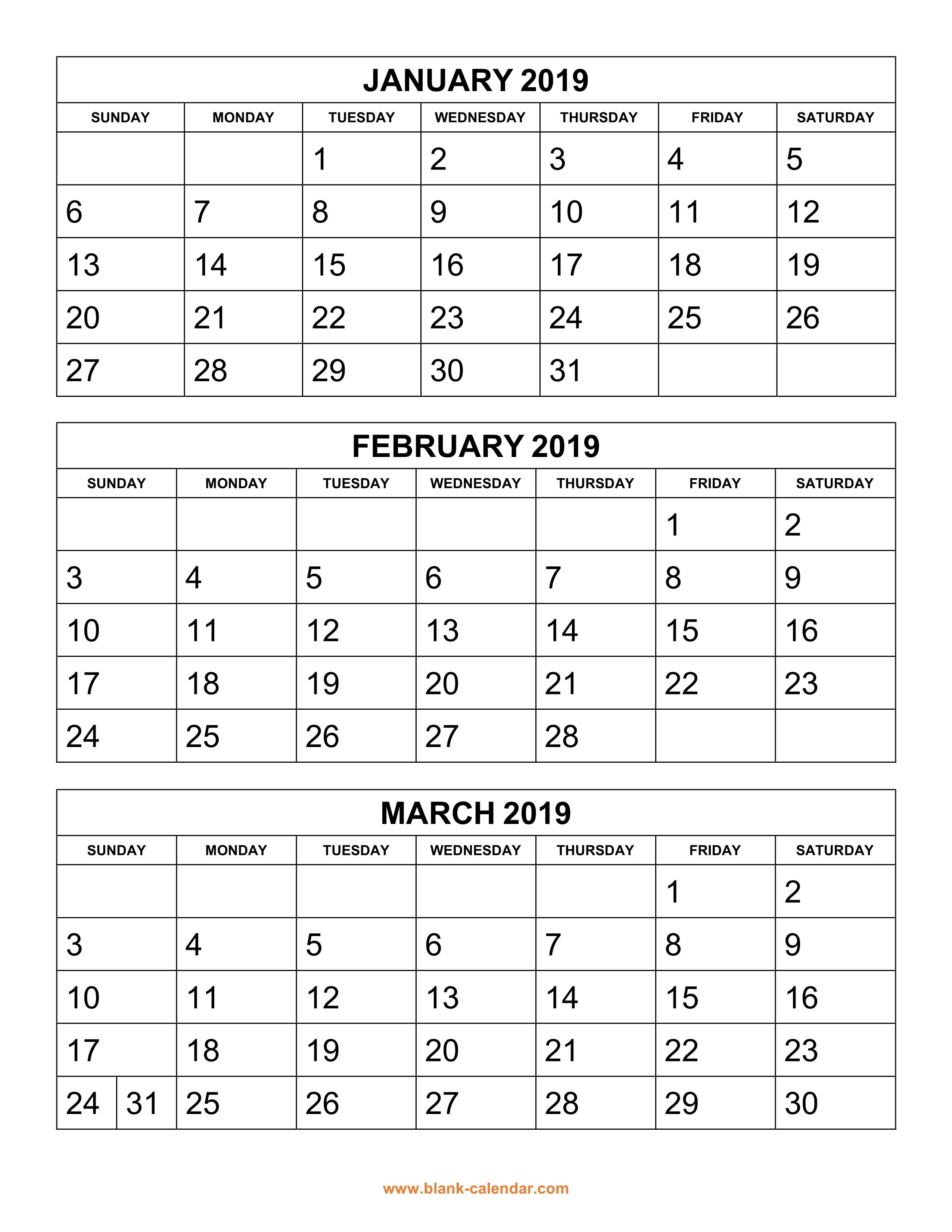 Printable 3 Month Calendar 2019