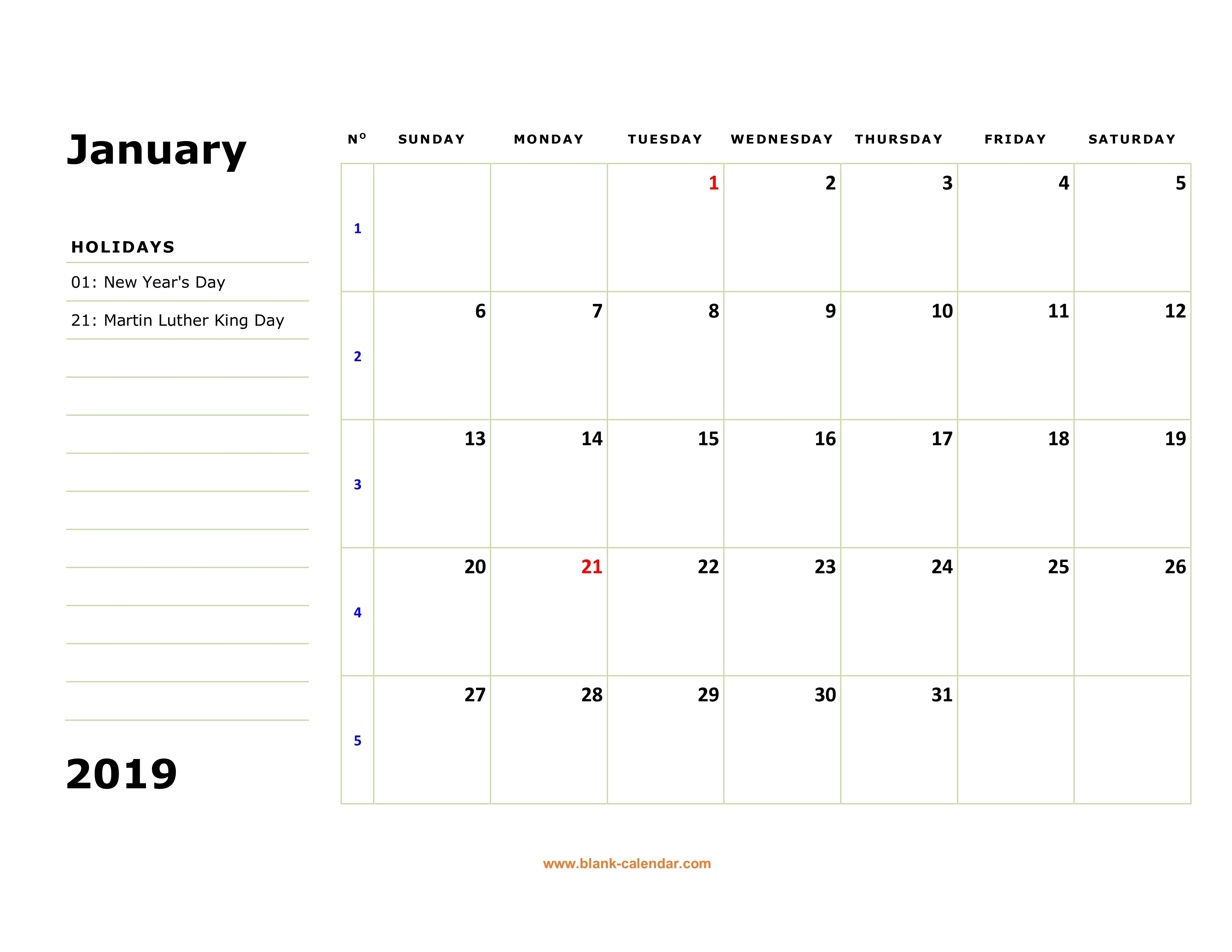 Printable Monthly Calendar 2019 With Holidays