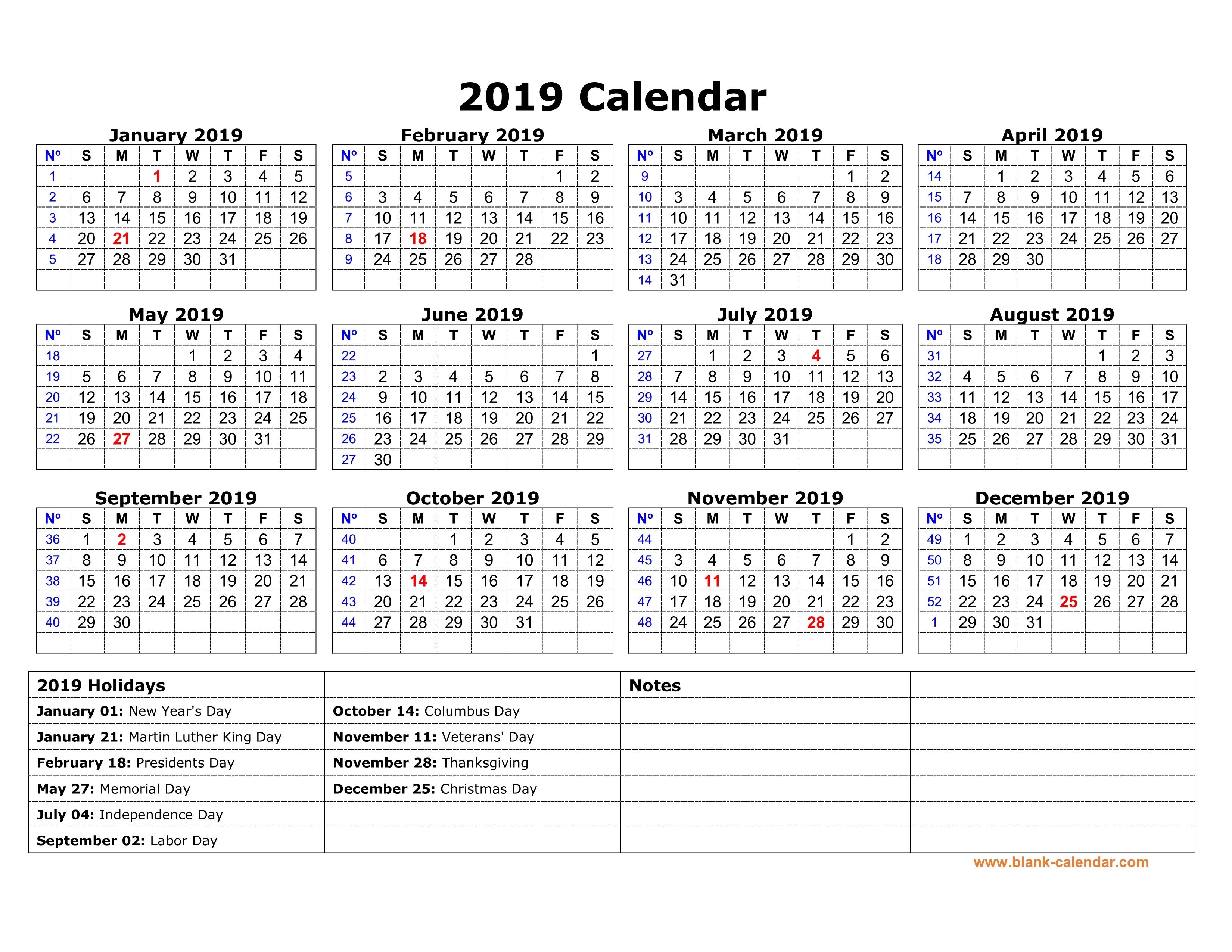 2019 Calendar Holidays Printable