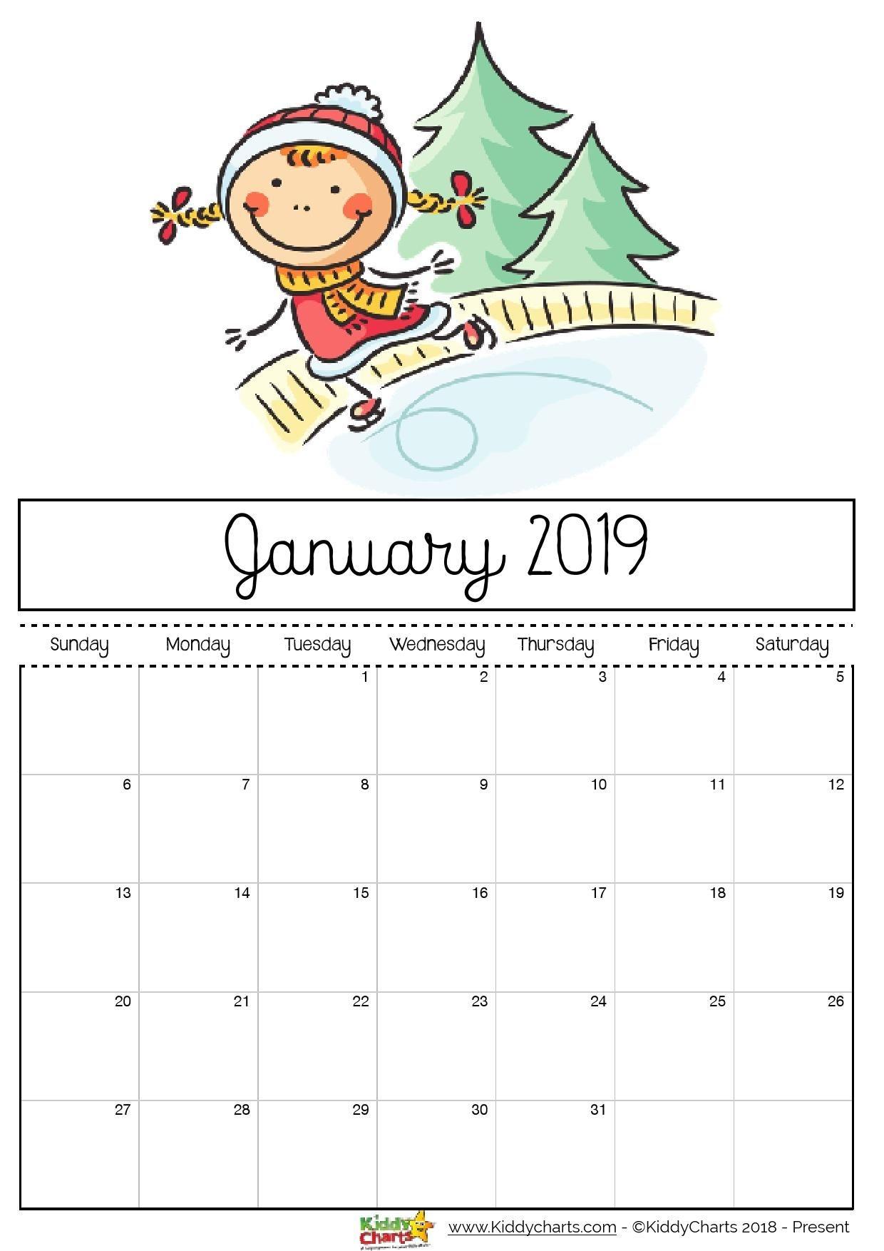 printable kids calendar 2019