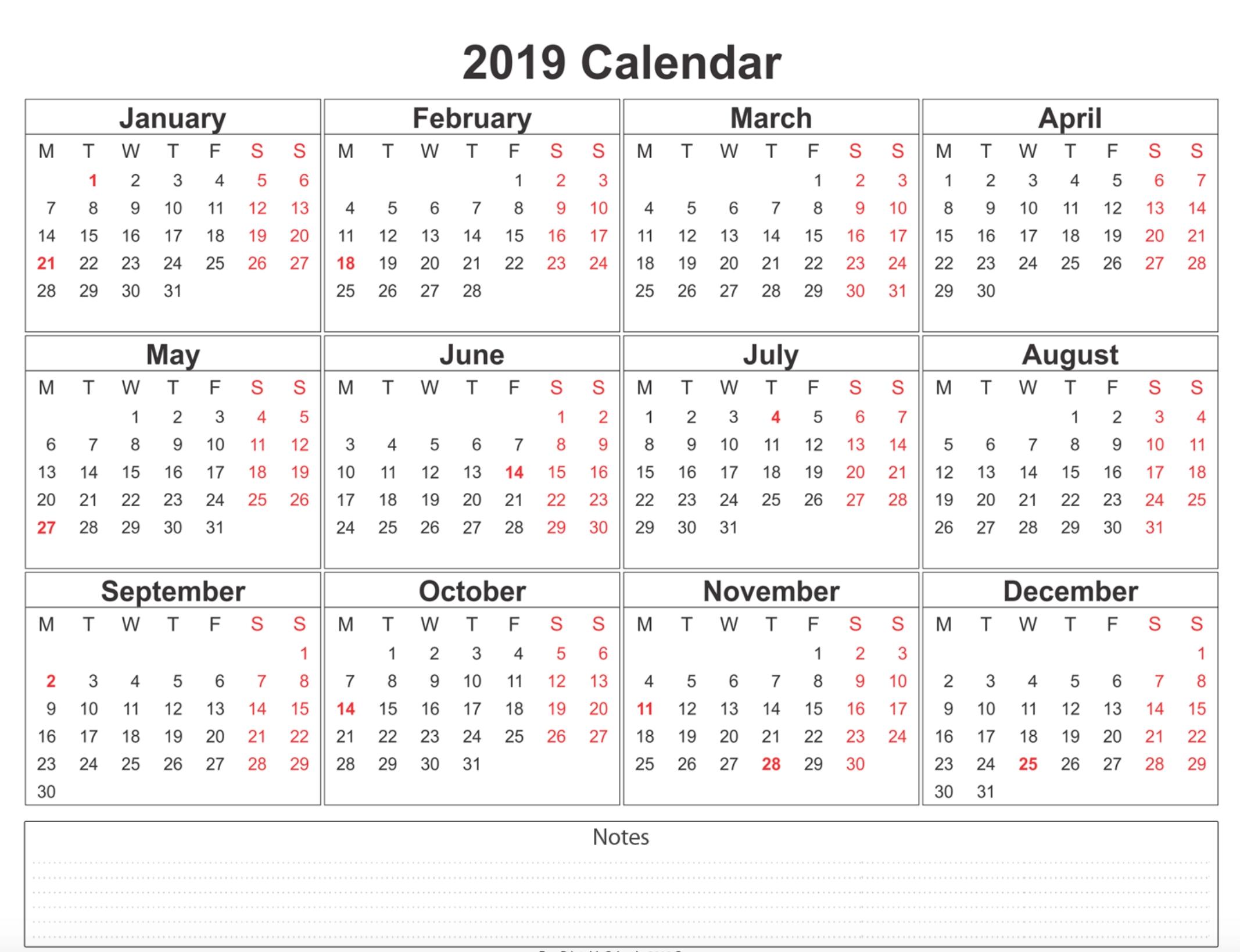 Free Printable 2019 Calendar Template