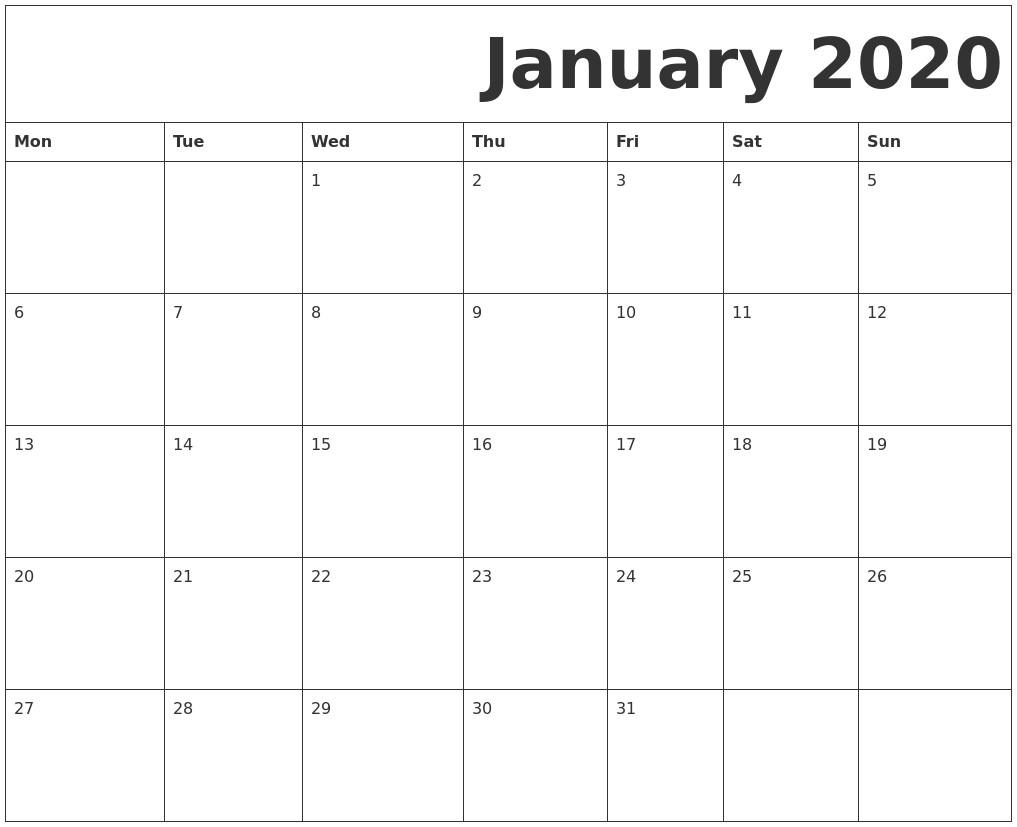2020 Free Monthly Calendar Printable