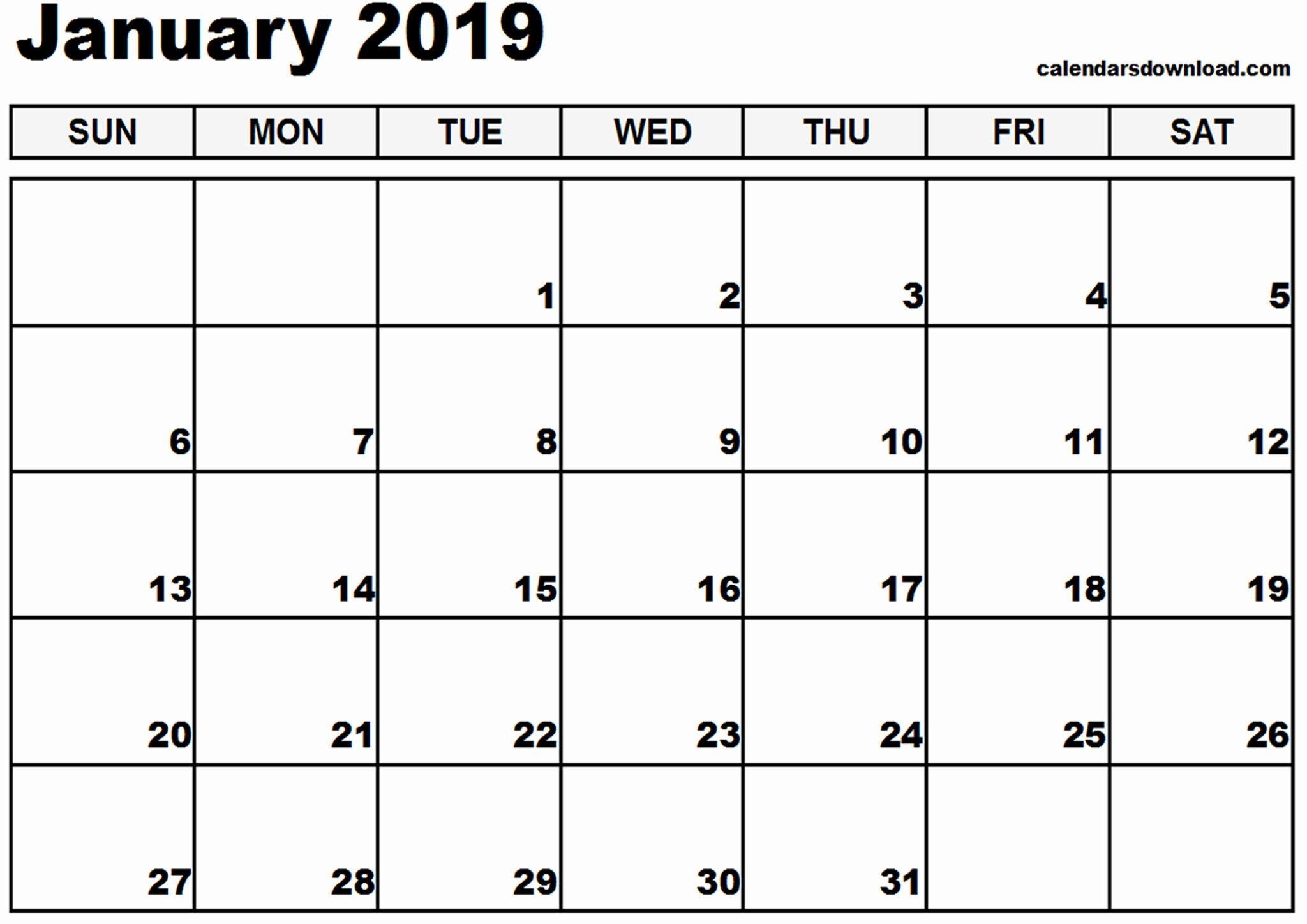 Printable Monthly Calendar 2019 Canada