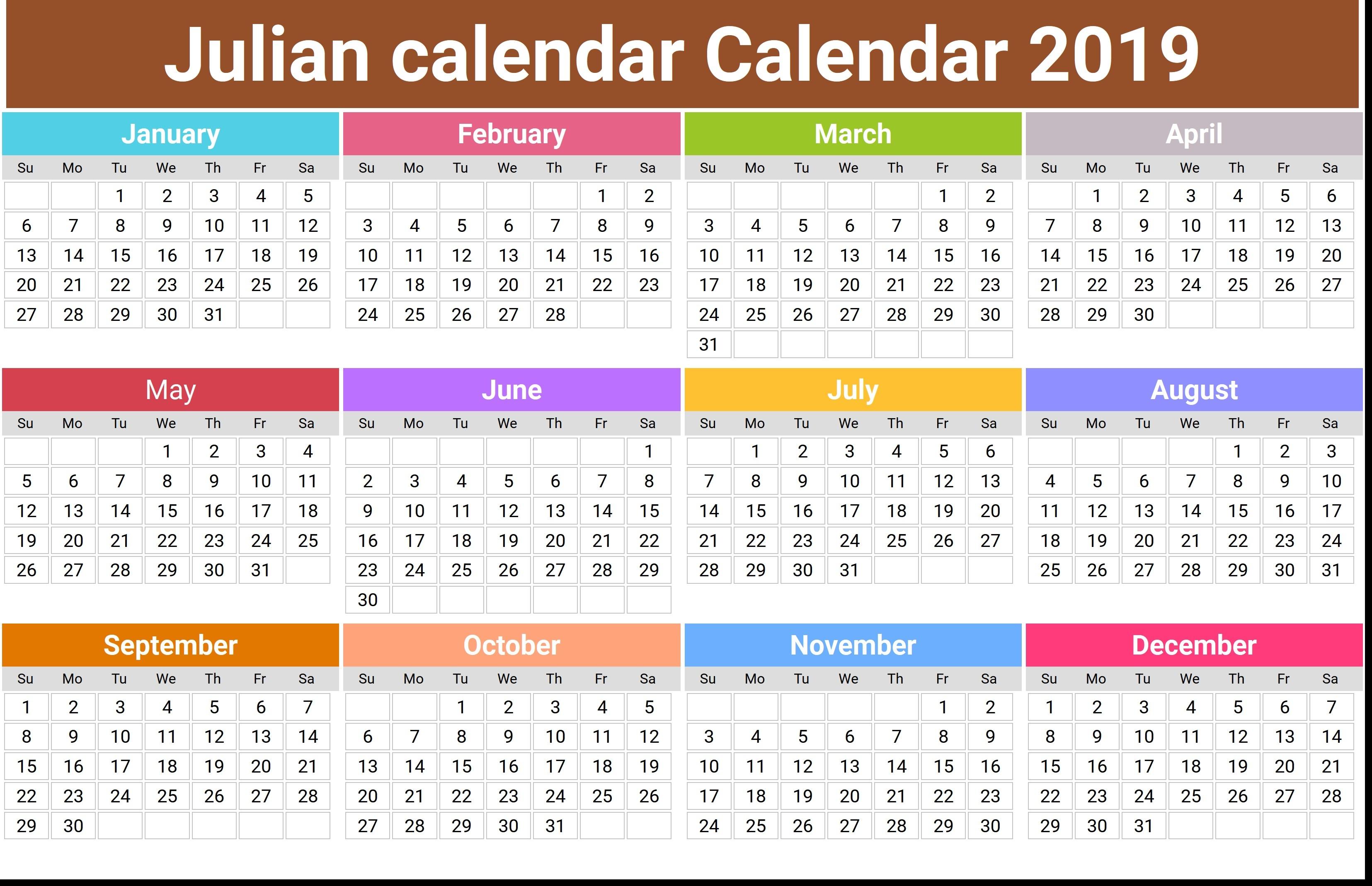 Printable Julian Calendar 2019 | Qualads