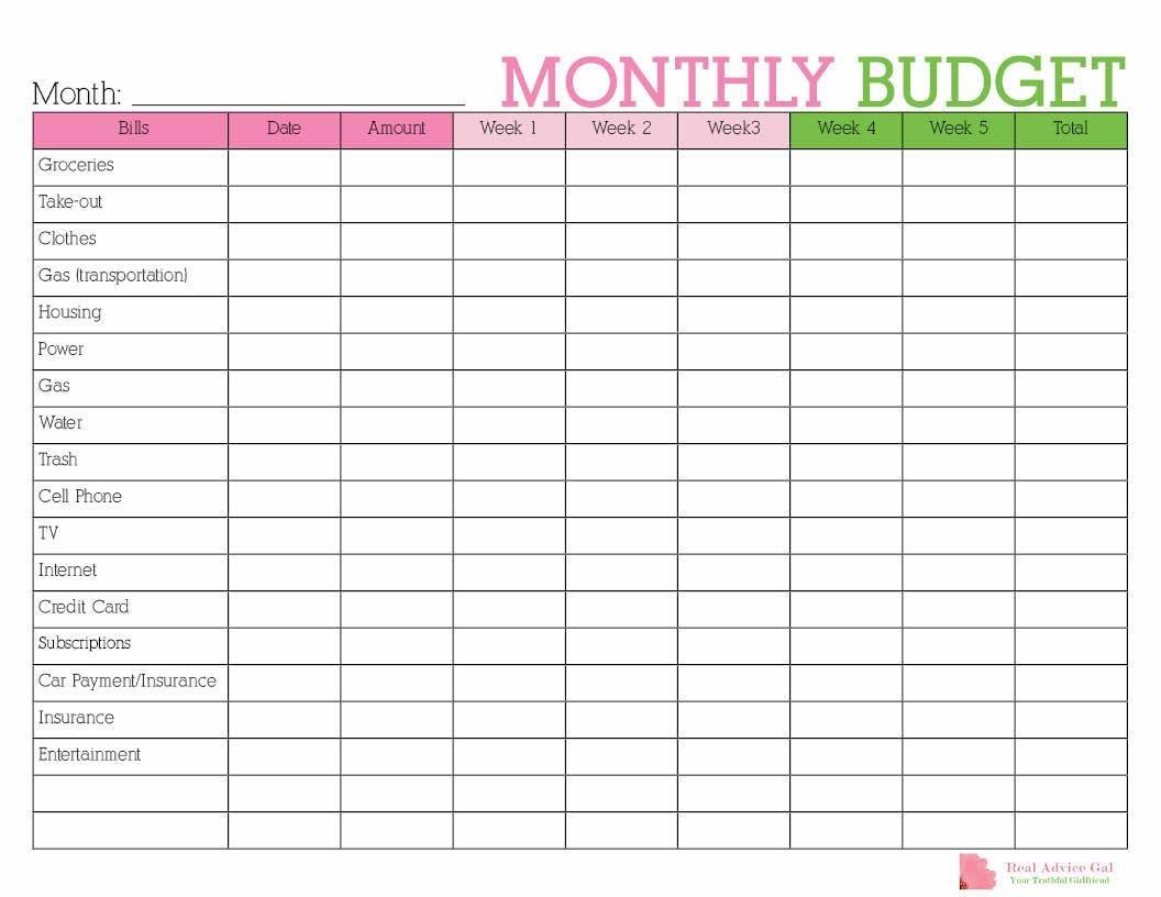 Budget Calendar Printable