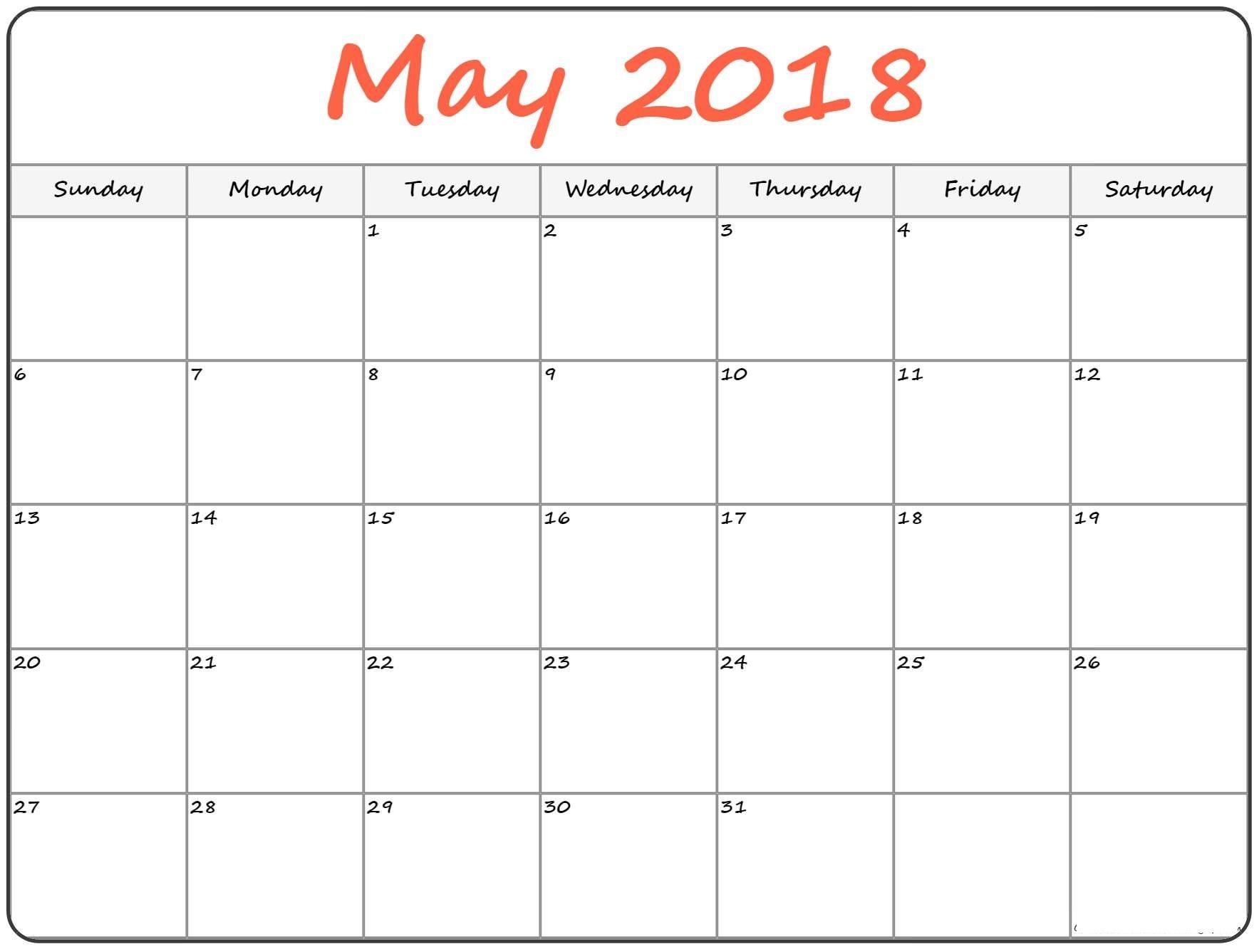 Landscape Printable Calendar