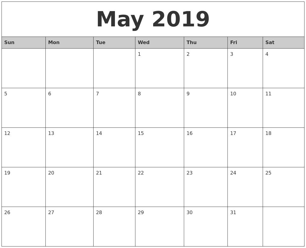 2019 Printable Word Calendar