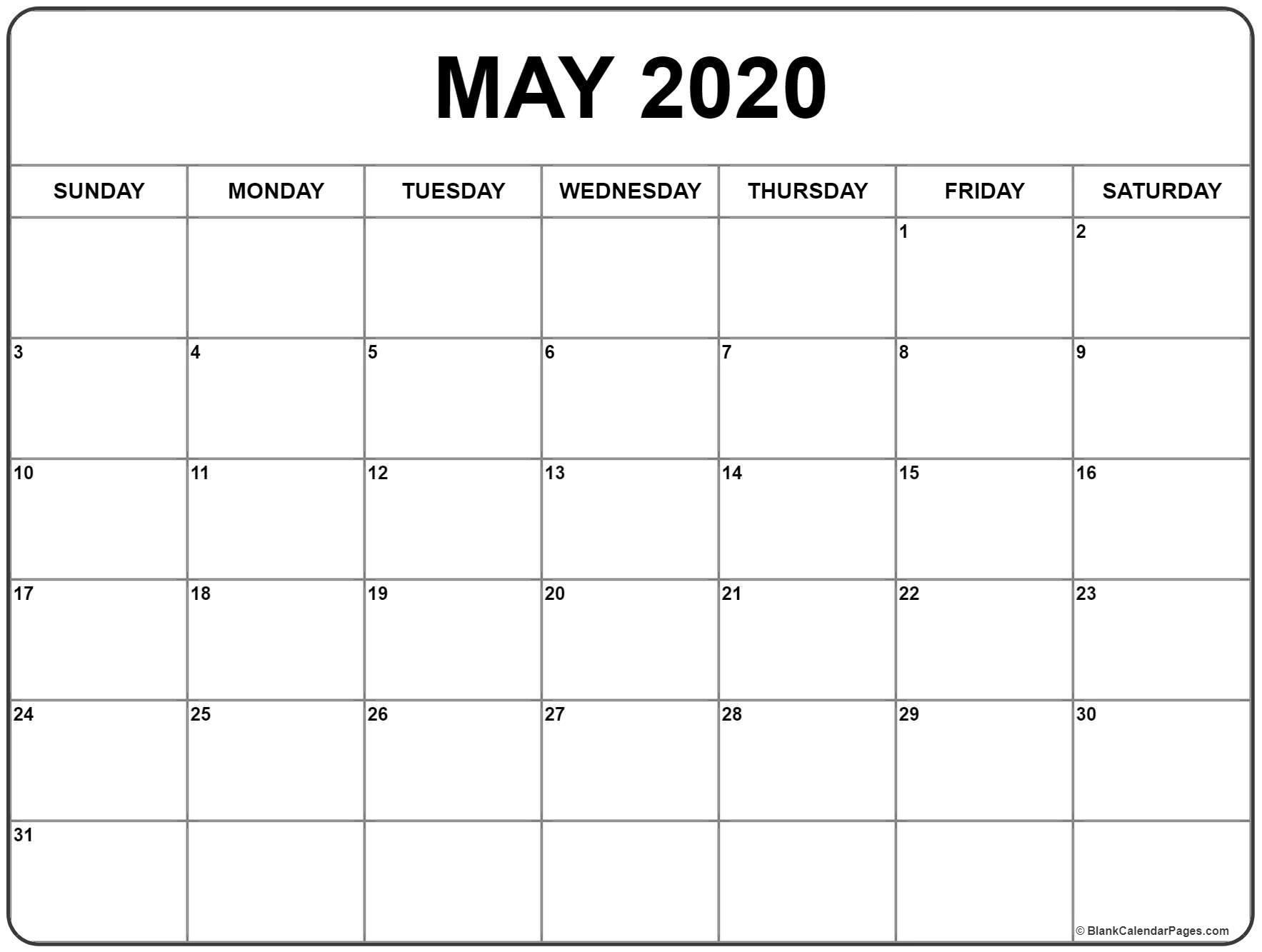 Blank May 2020 Calendar Printable