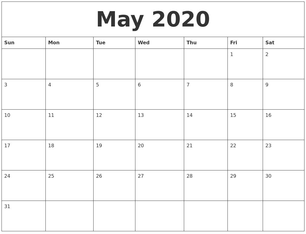 Daily Calendar 2020 Printable