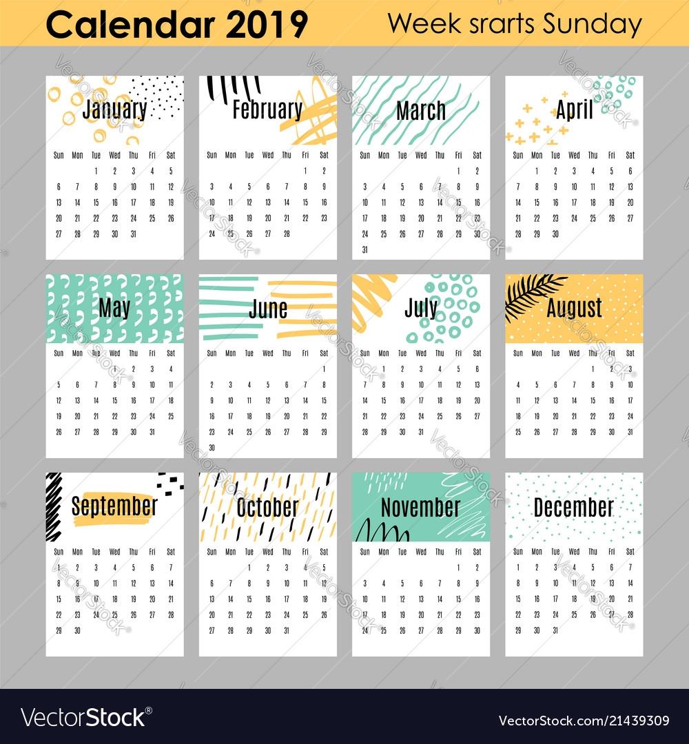 2019 Calendar Design Templates