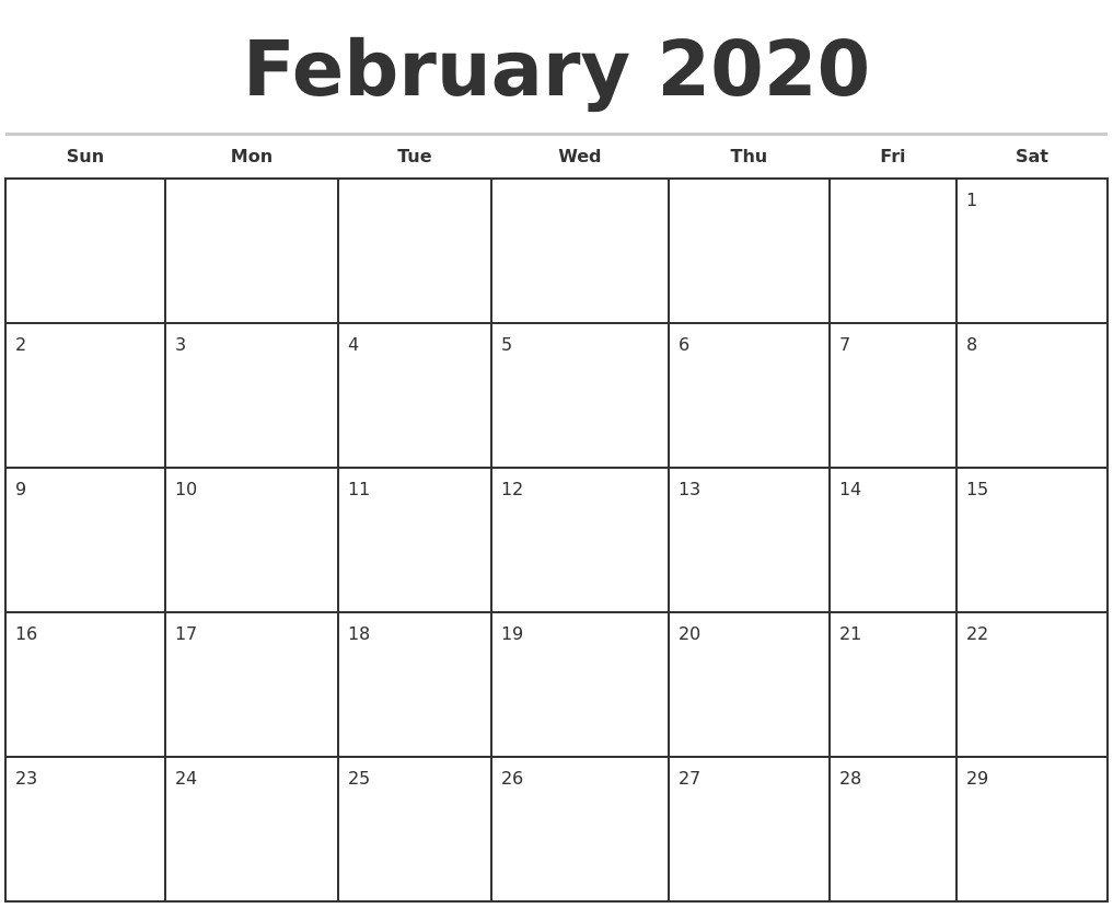 2020 Monthly Printable Calendars