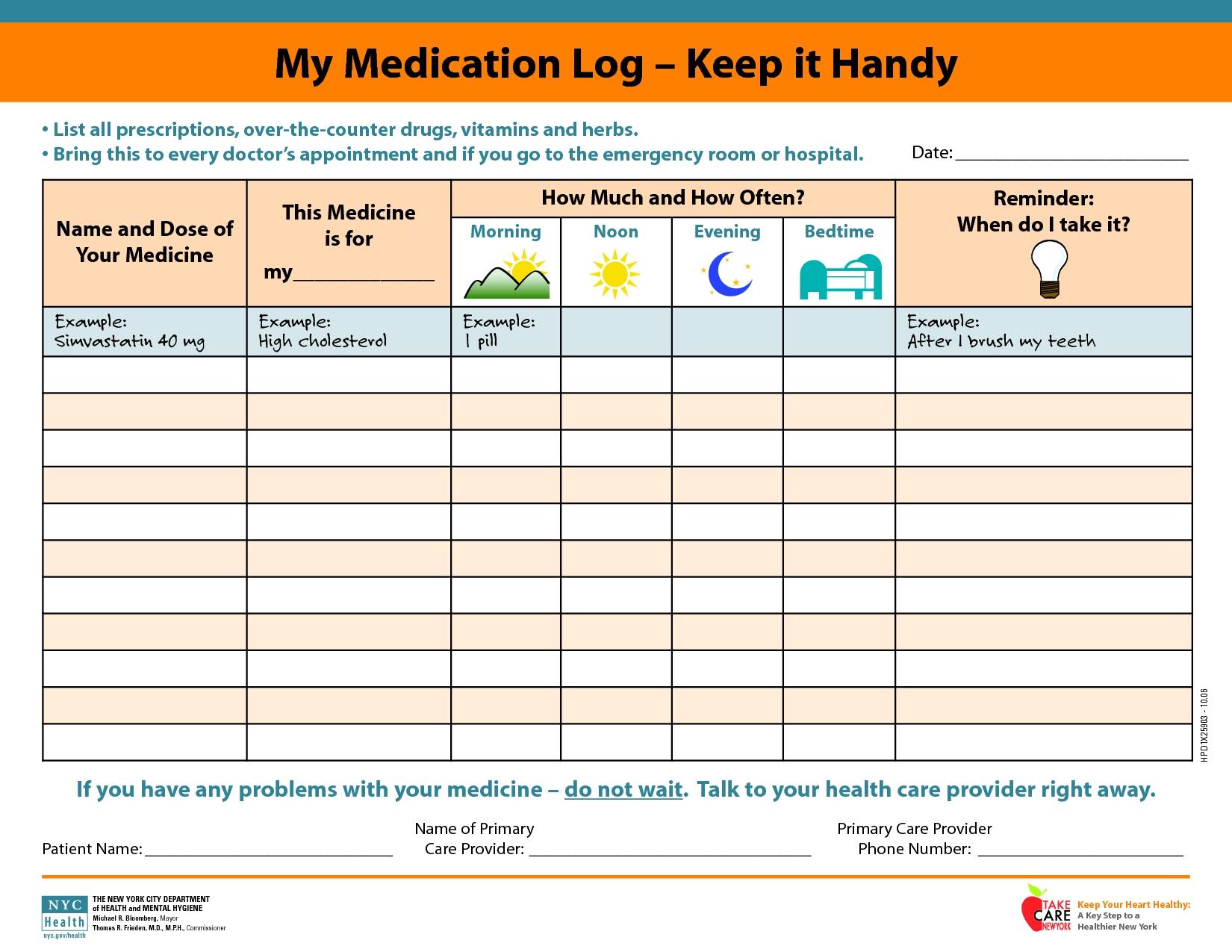 Medicine Calendar Printable