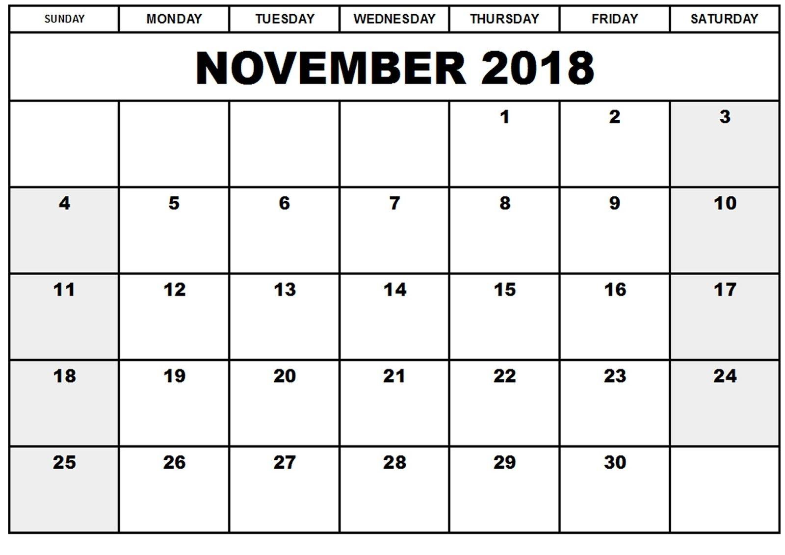 blank november calendar printable