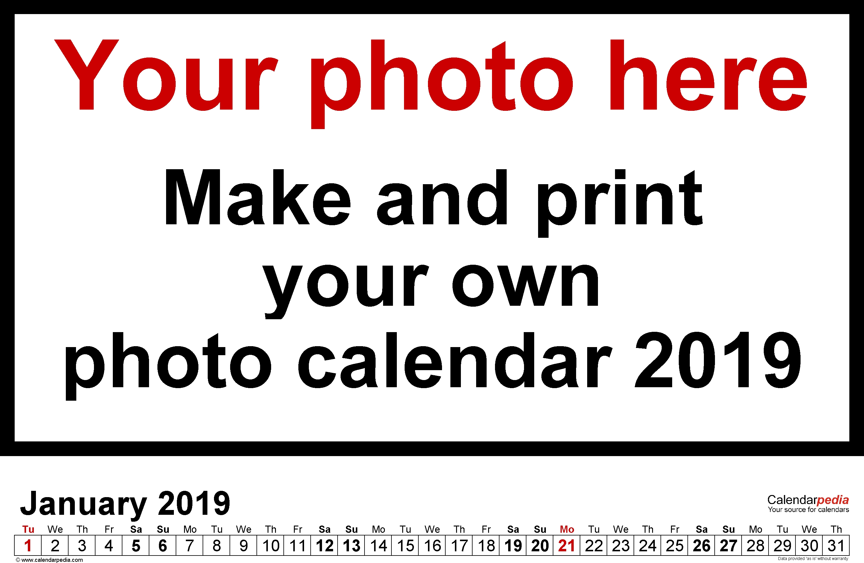 Create Your Own Calendar Free Printable
