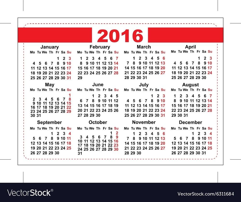 Printable Wallet Size Calendar