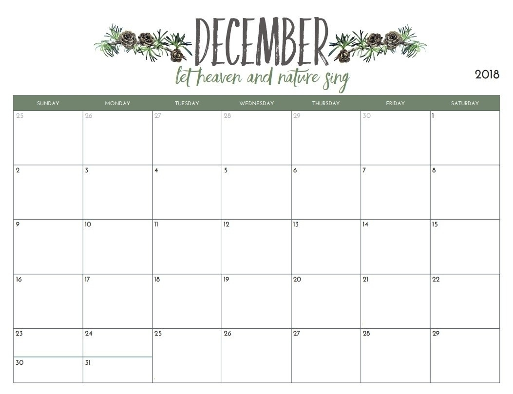 Pretty Printable Calendar