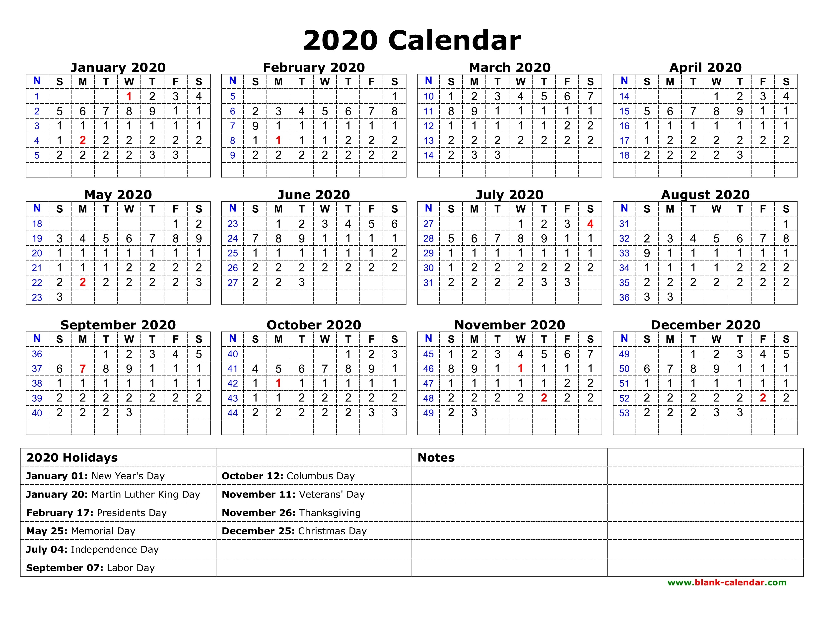 Printable 2020 Monthly Calendar With Us Holidays