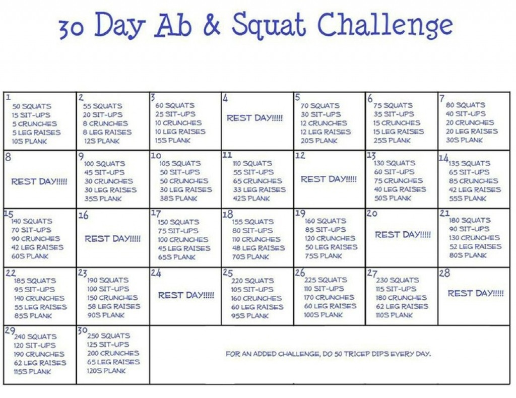 30 Day Squat Challenge Printable Calendar