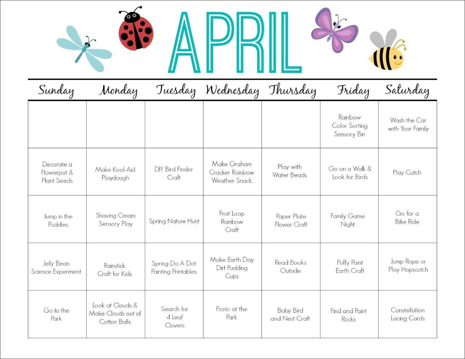 Printable Calendar For Children