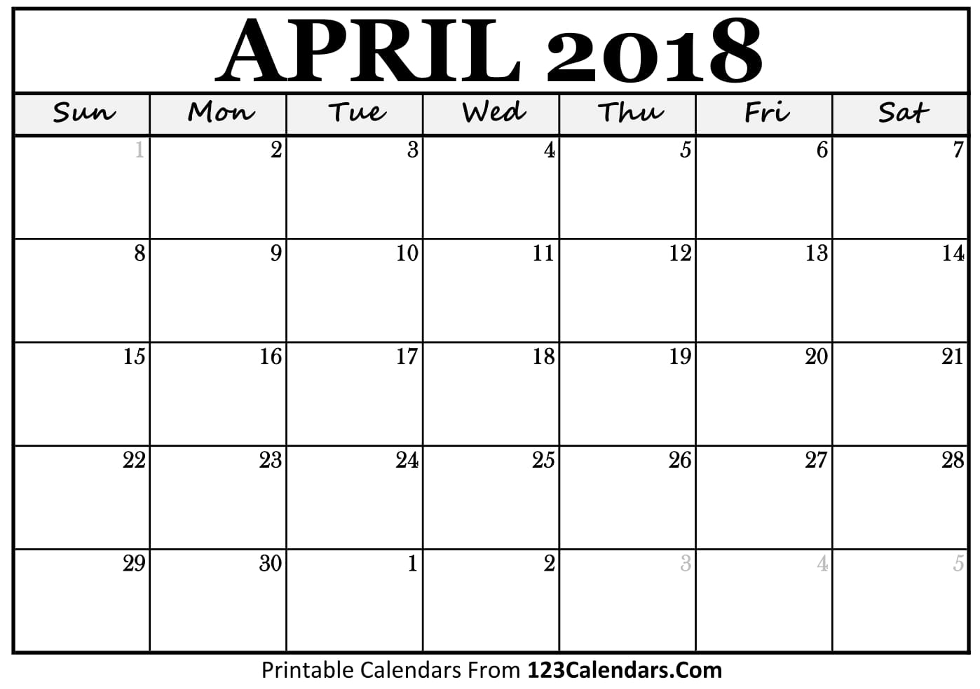 Printable Calendar April