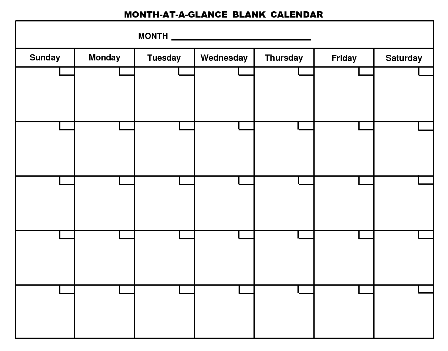 Free Printable Blank Monthly Calendar
