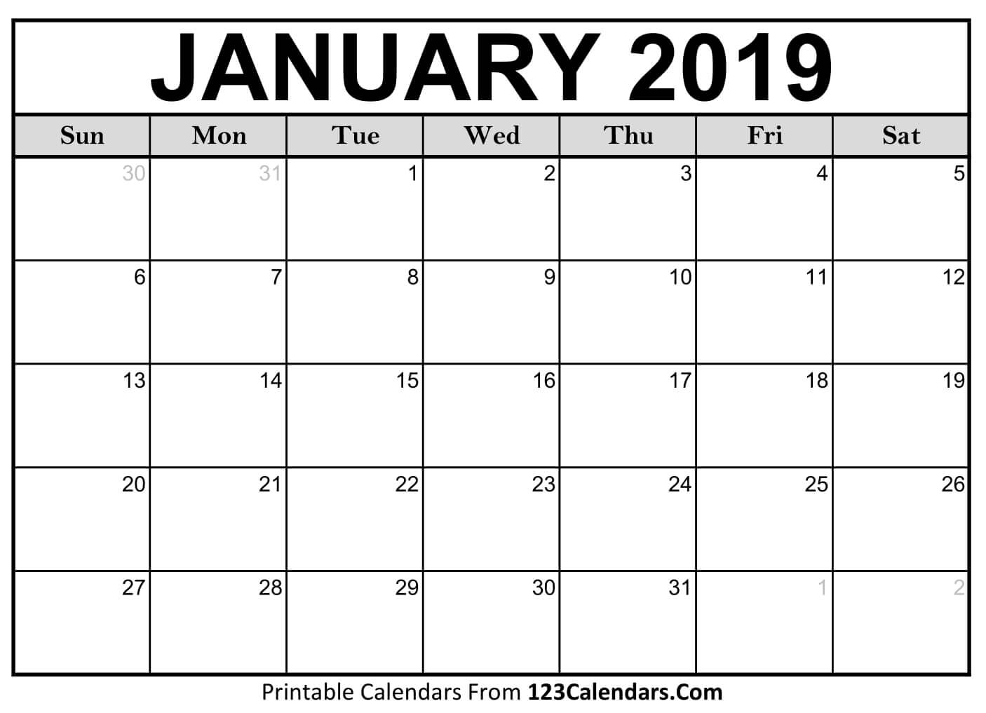 Printable Jan 2019 Calendar