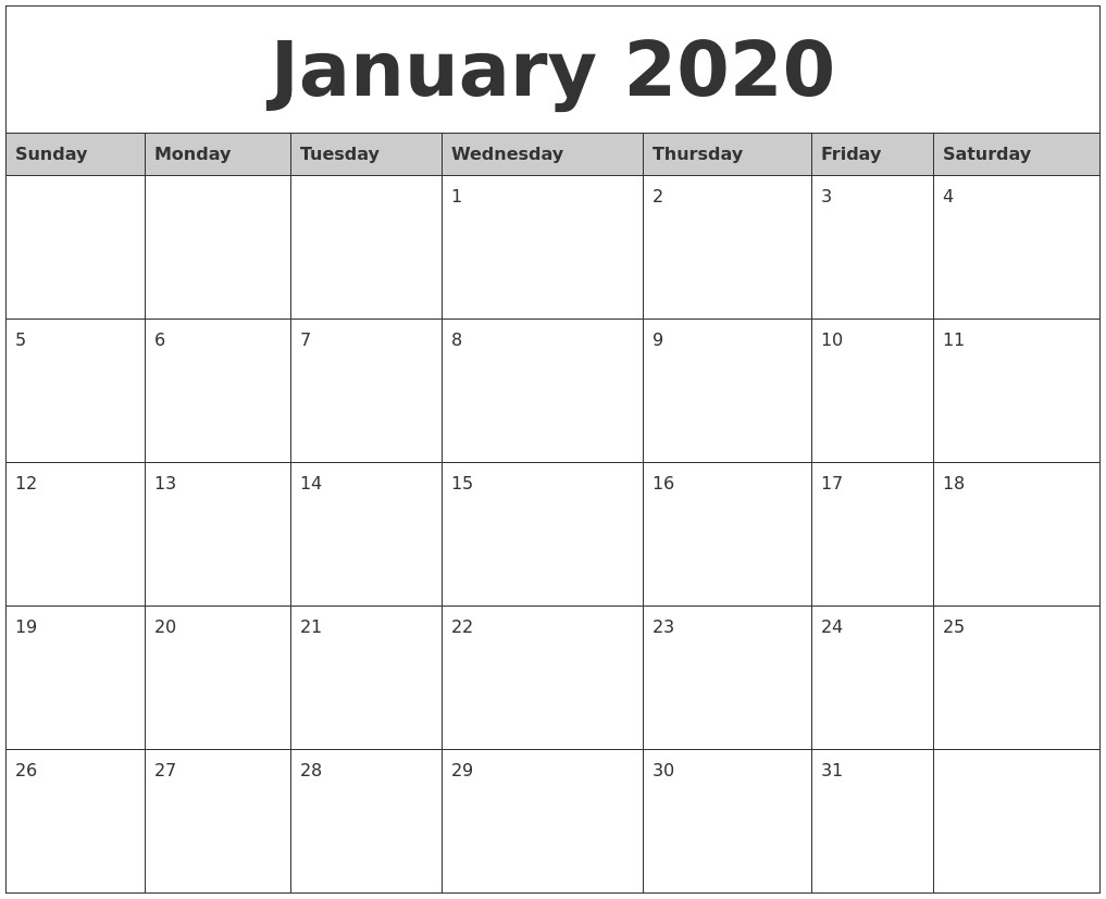 Monthly 2020 Calendar Printable