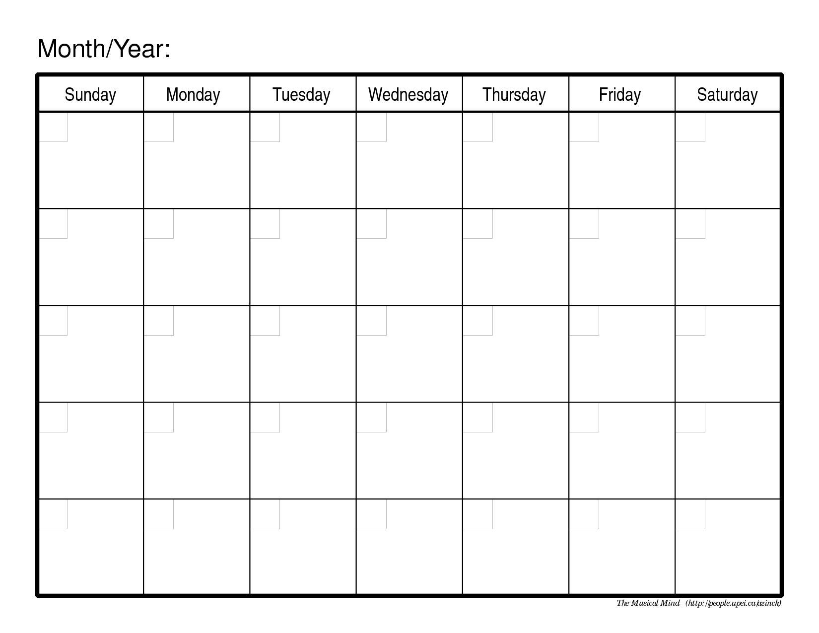 printable one month calendar