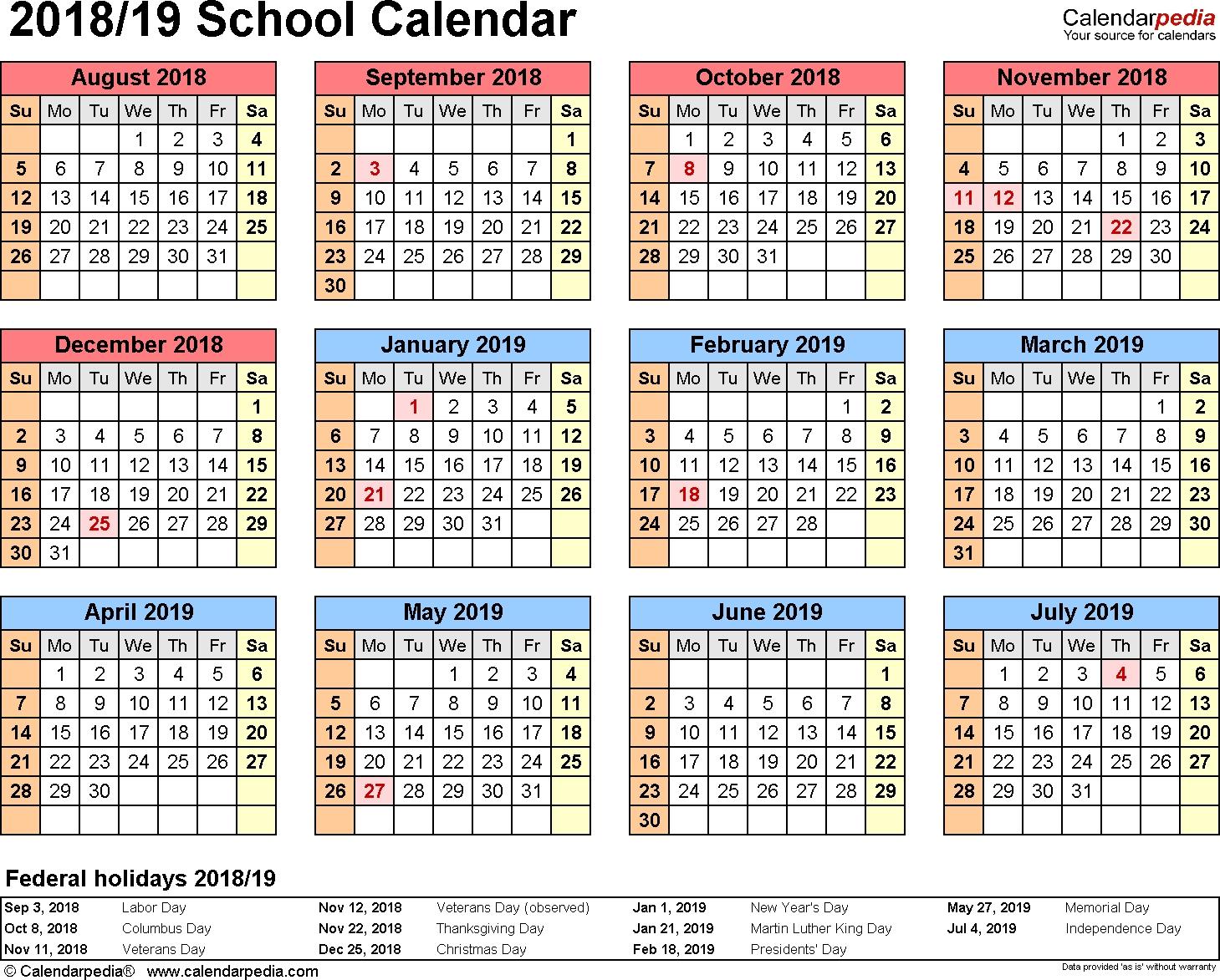 Printable Calendar School Year 2019 15